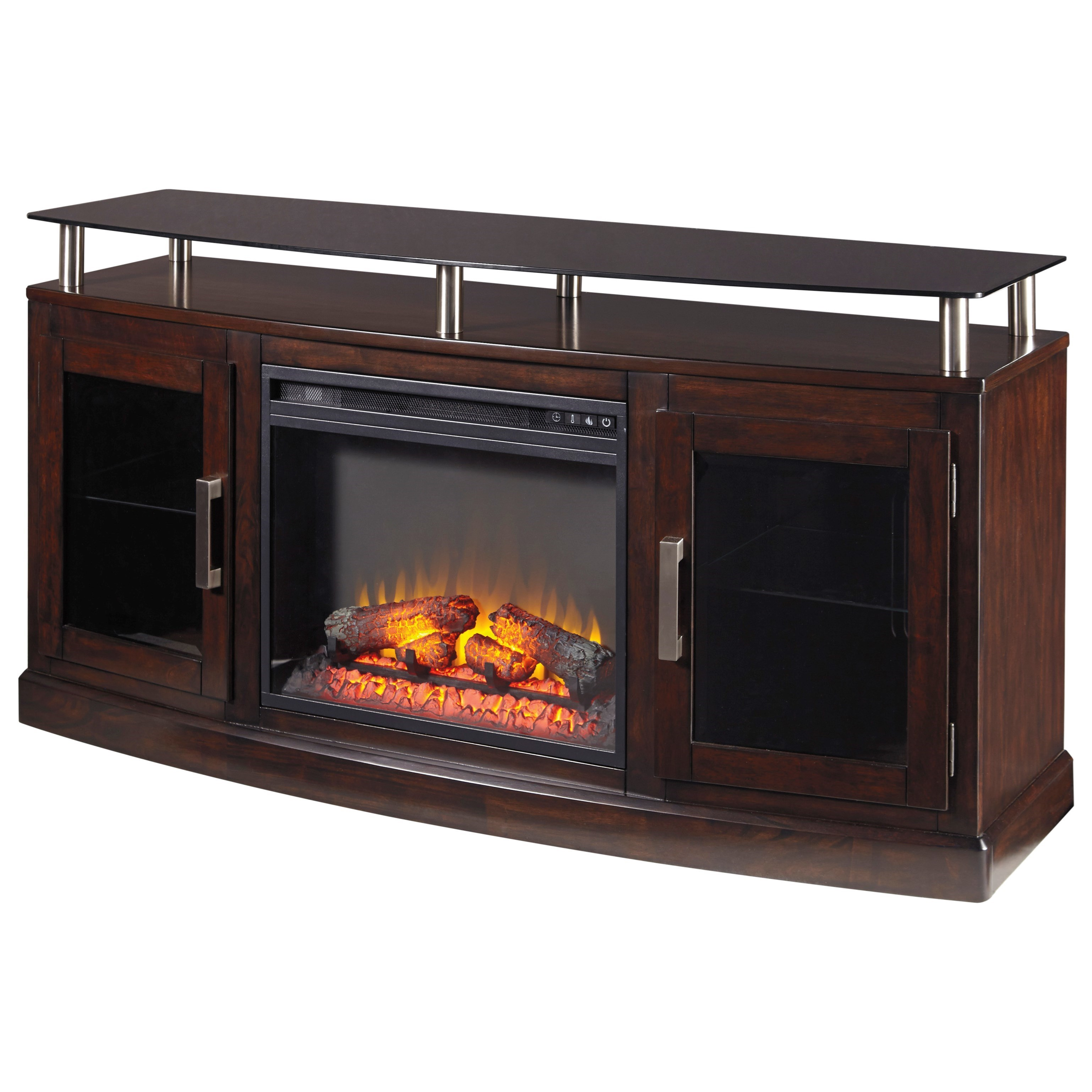Ashley signature design chanceen tv stand with fireplace for Fireplace insert options