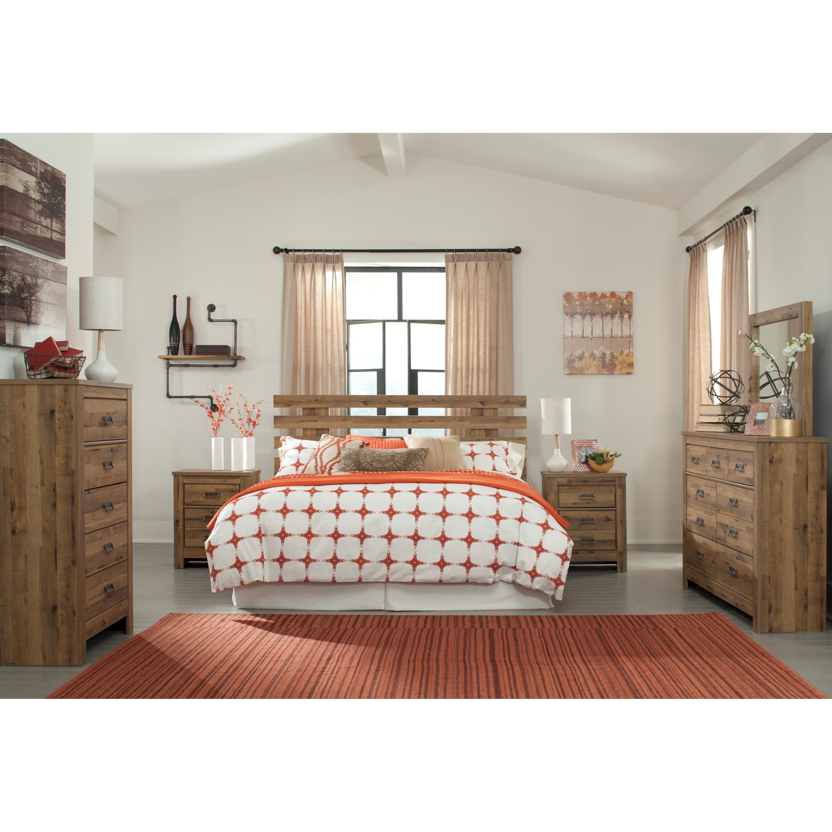 Signature design by ashley cinrey king bedroom group for Bedroom furniture groups