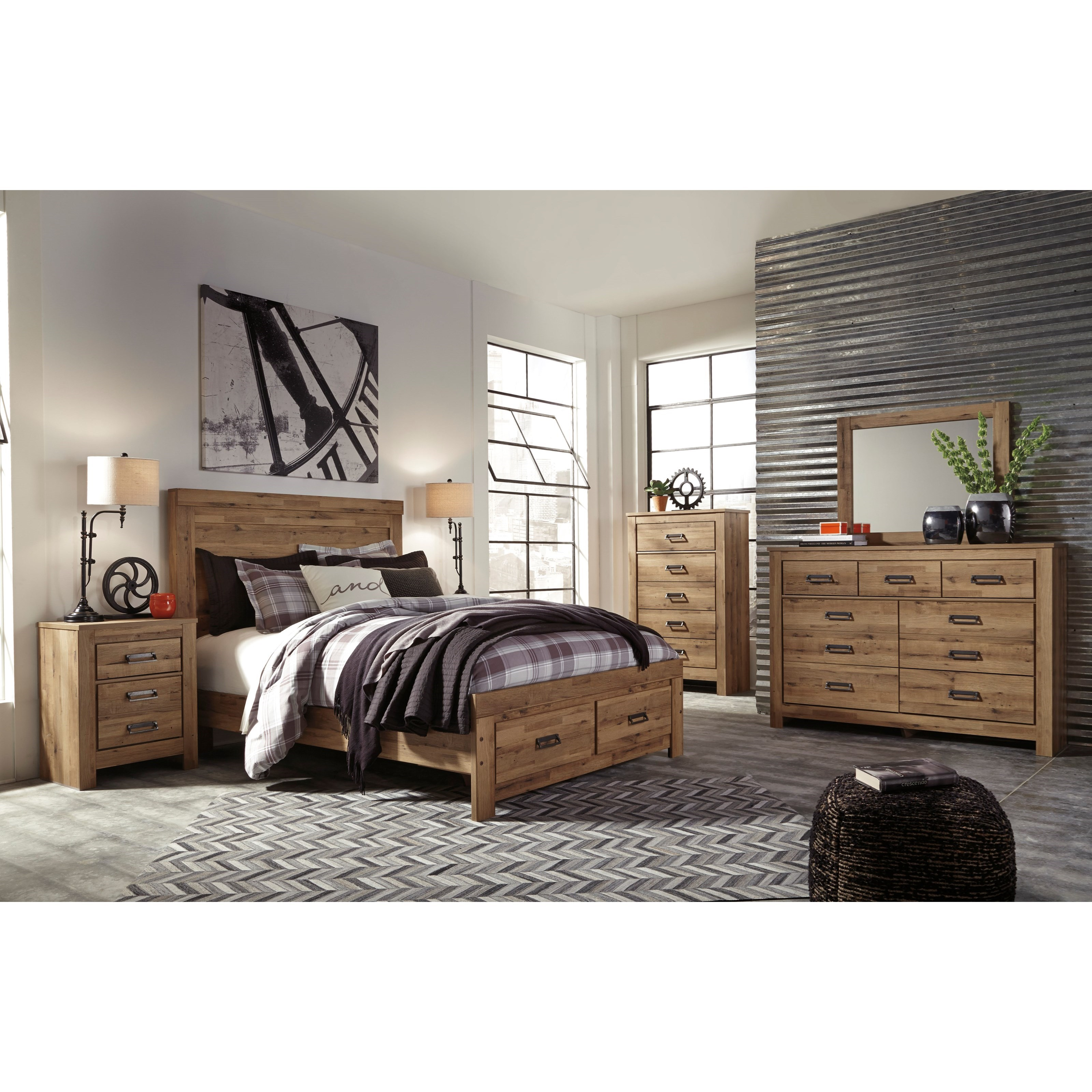 Signature design by ashley cinrey queen bedroom group for Bedroom furniture groups