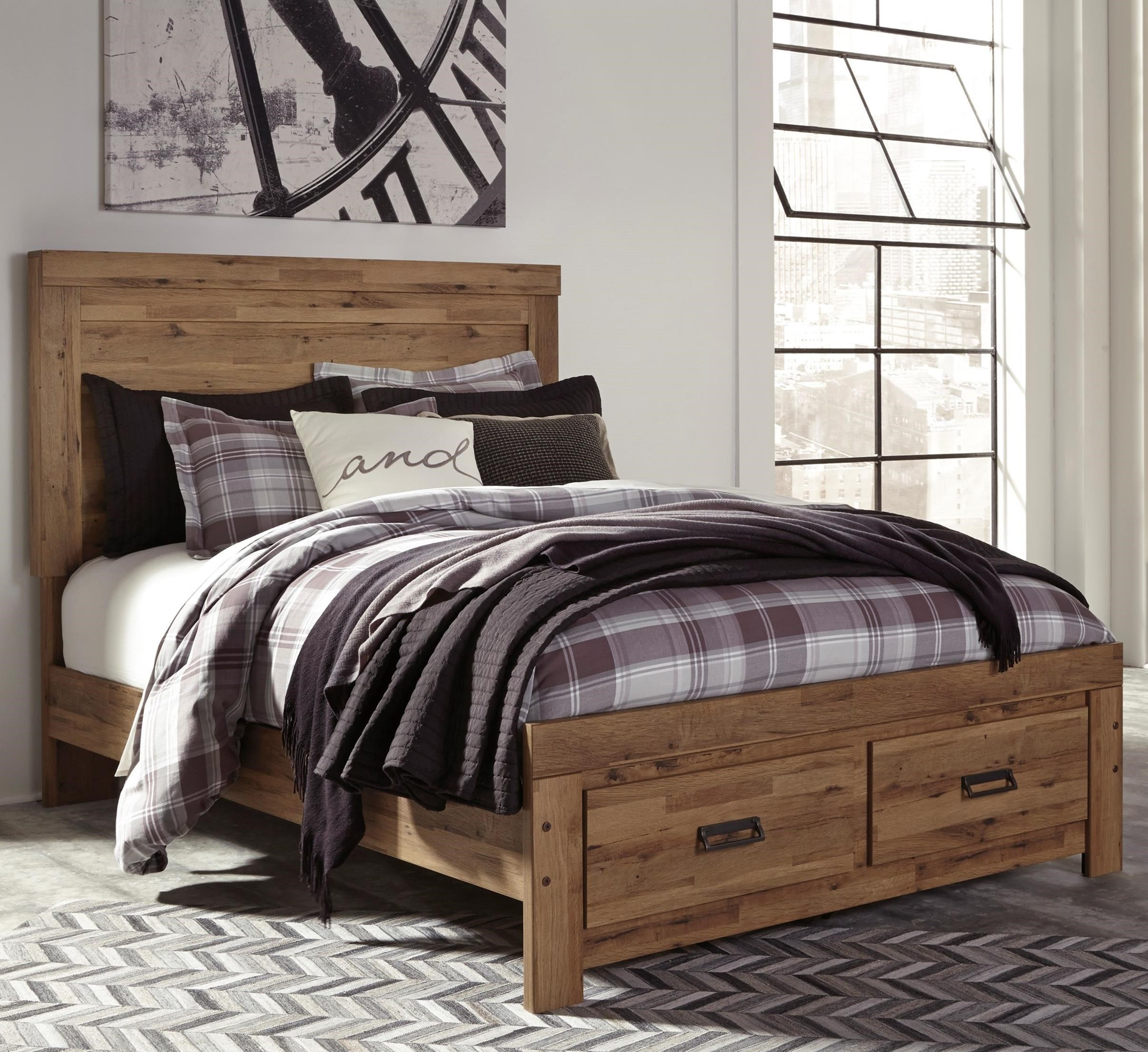 Signature Design By Ashley Cinrey King Panel Storage Bed With 2 Footboard Drawers Del Sol