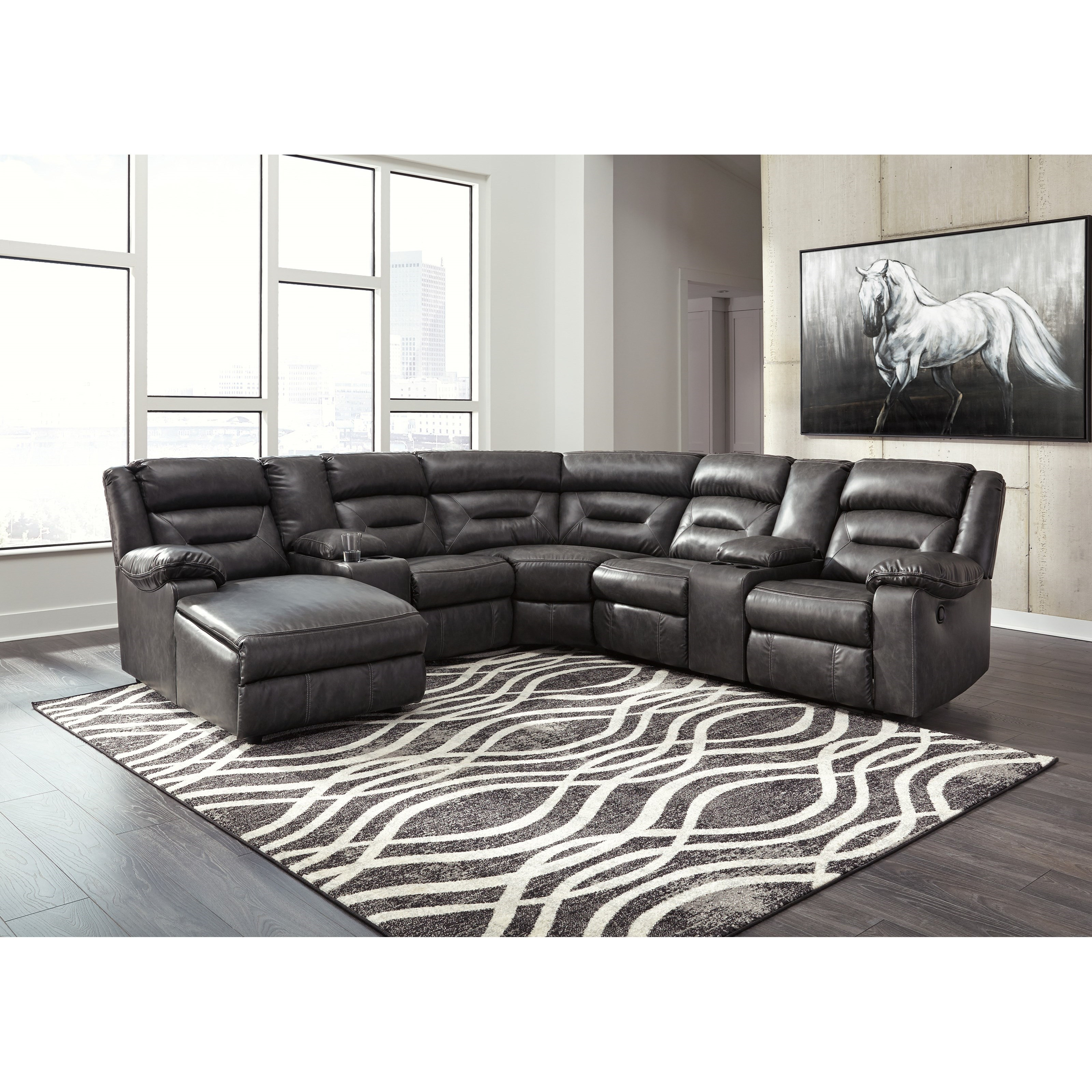 signature design by ashley coahoma 7 piece sectional with storage consoles household furniture. Black Bedroom Furniture Sets. Home Design Ideas