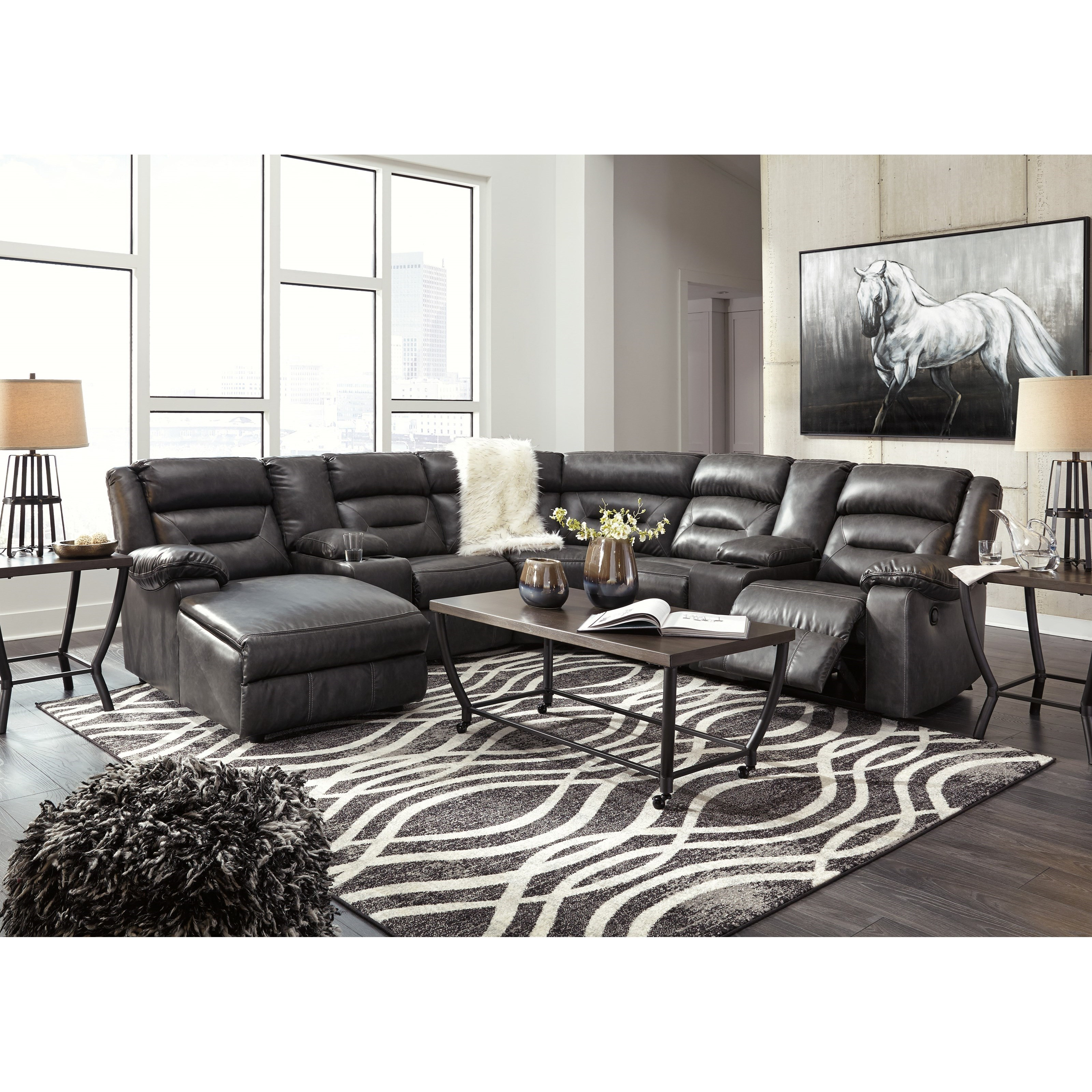 signature design by ashley coahoma 7 piece sectional with storage consoles royal furniture. Black Bedroom Furniture Sets. Home Design Ideas