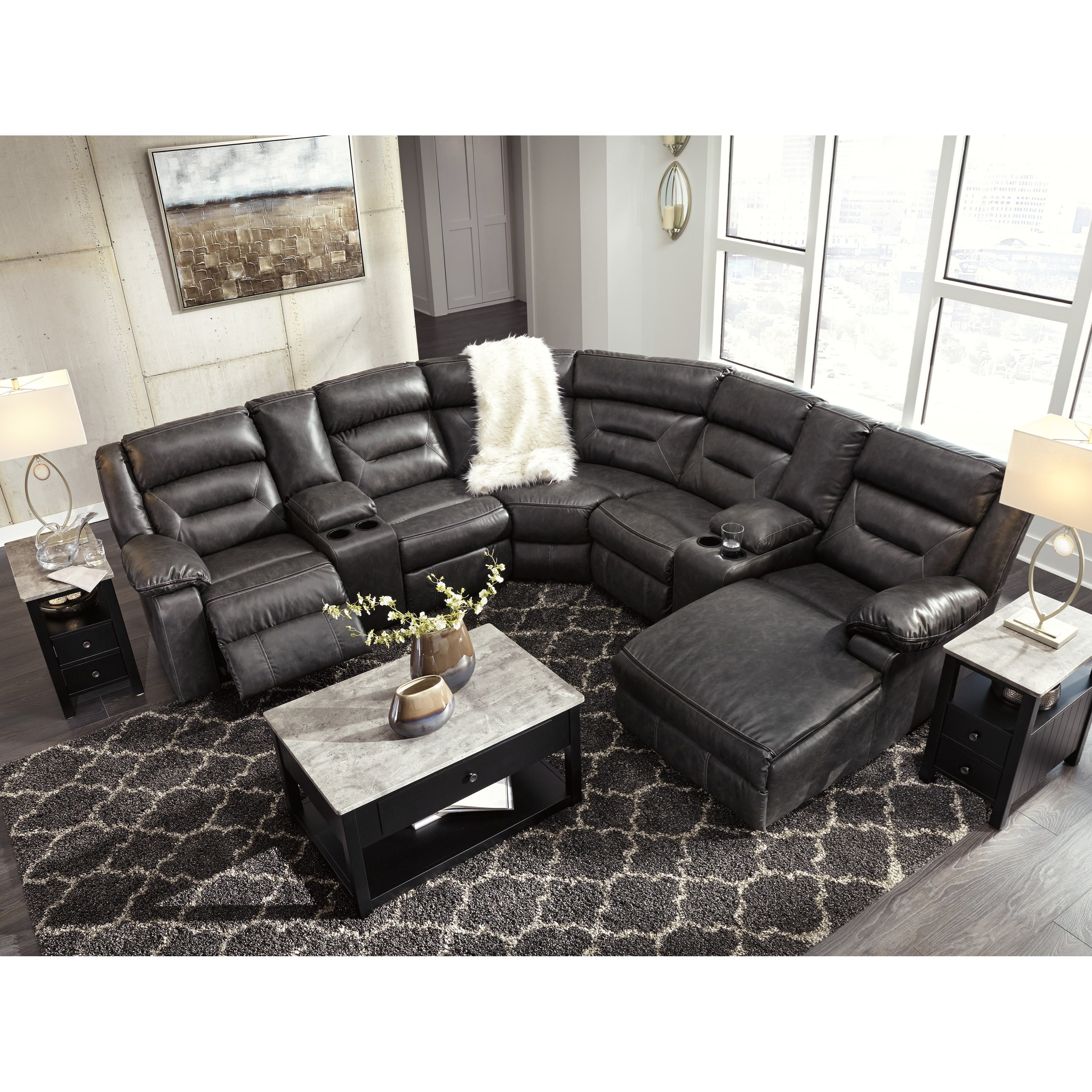 signature design by ashley coahoma 7 piece sectional with storage consoles value city. Black Bedroom Furniture Sets. Home Design Ideas