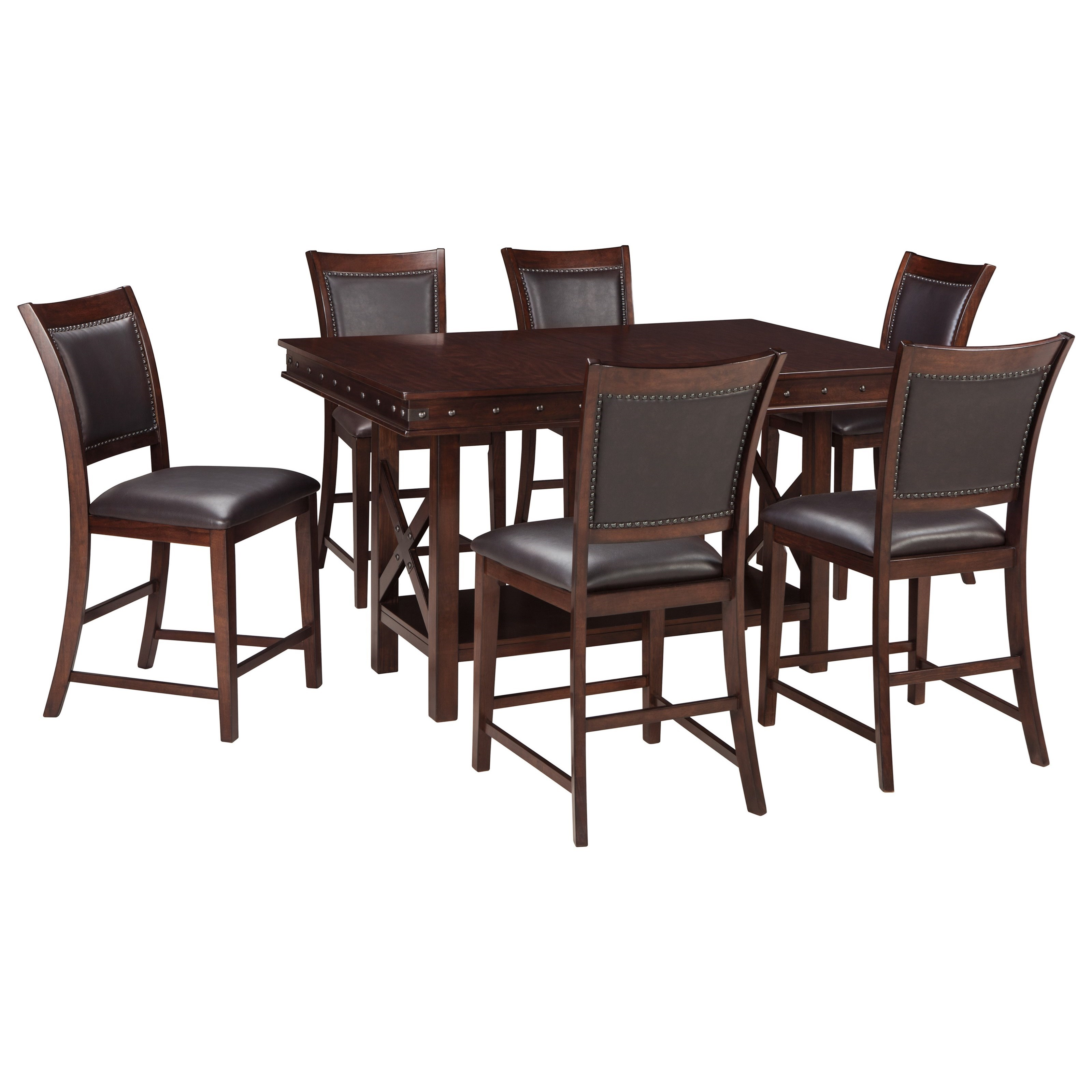 signature design by ashley collenburg 7 piece counter table set royal furniture pub table. Black Bedroom Furniture Sets. Home Design Ideas