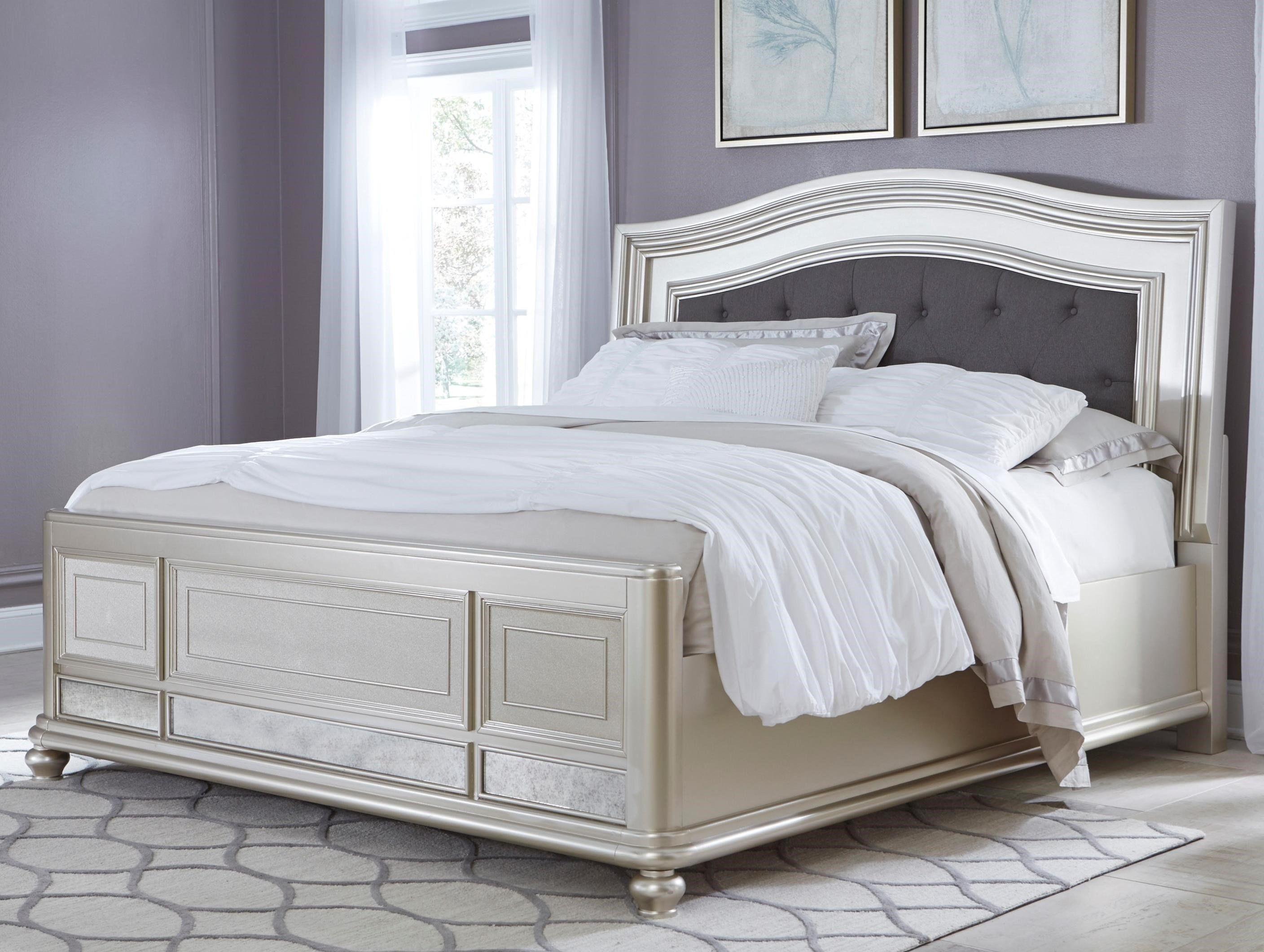 Signature Design By Ashley Coralayne King Panel Bed With Arched Upholstered Headboard And Silver