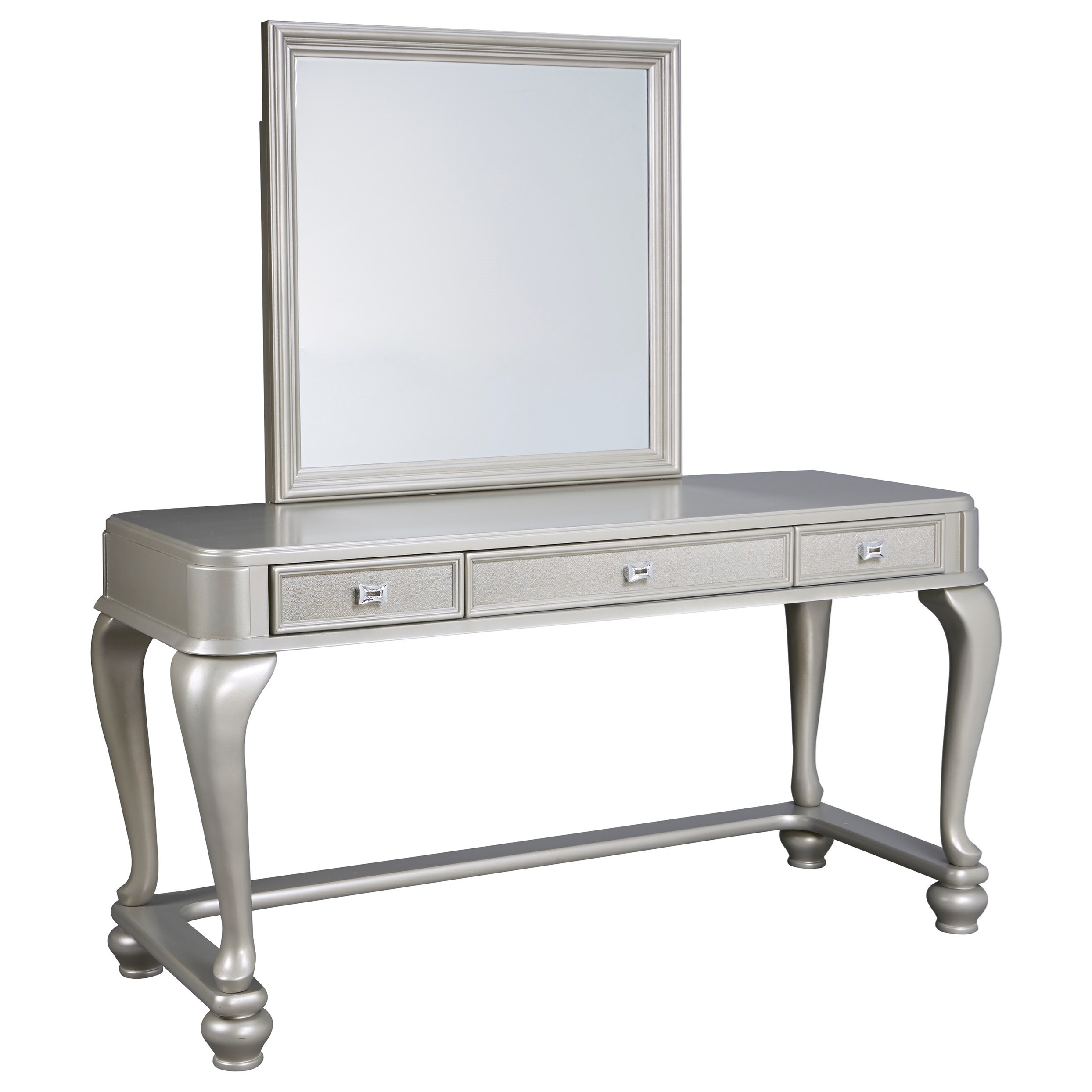 Signature Design By Ashley Coralayne Vanity Mirror In Silver Paint Finish Royal Furniture