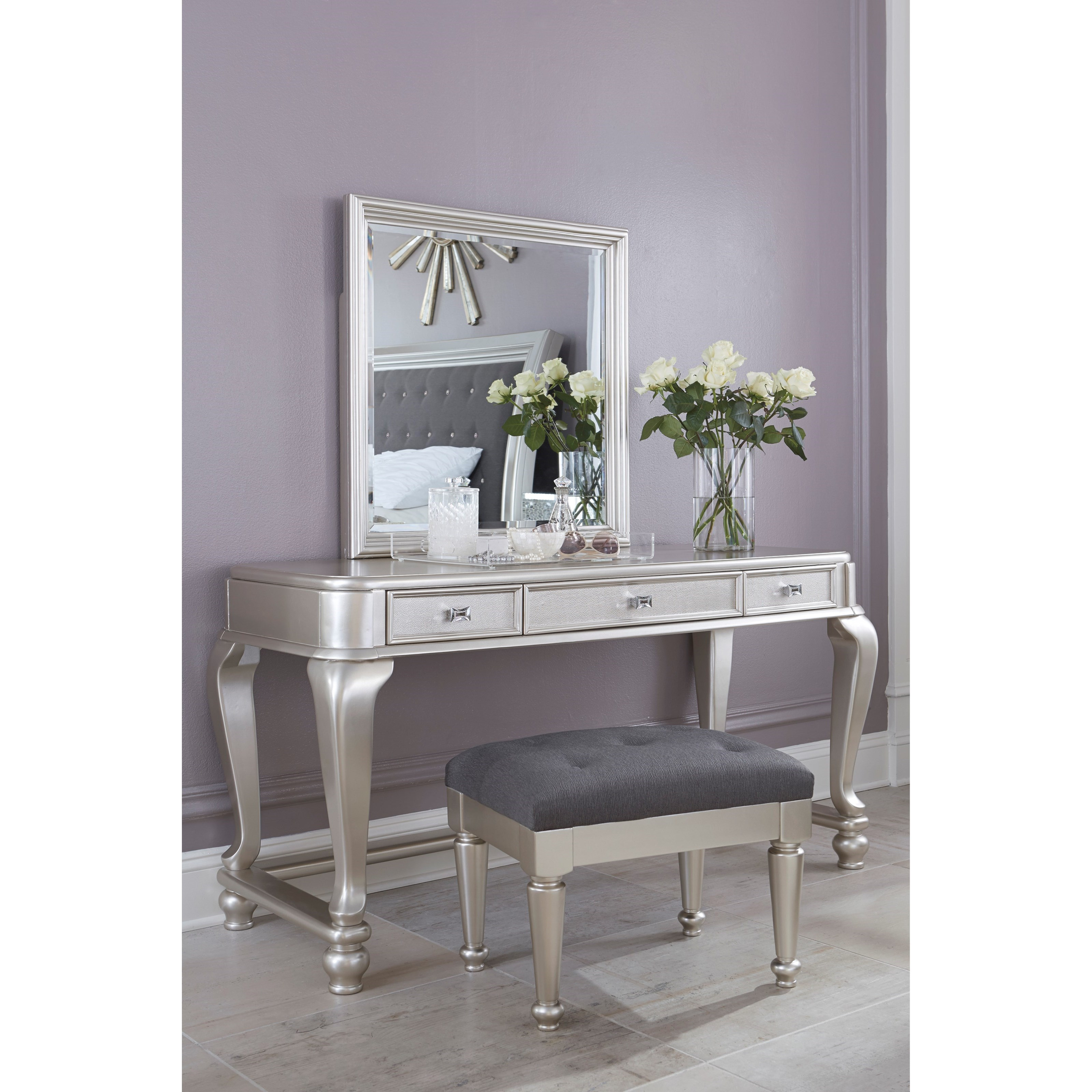 Ashley Signature Design Coralayne Vanity Mirror In Silver Paint Finish Dunk Bright