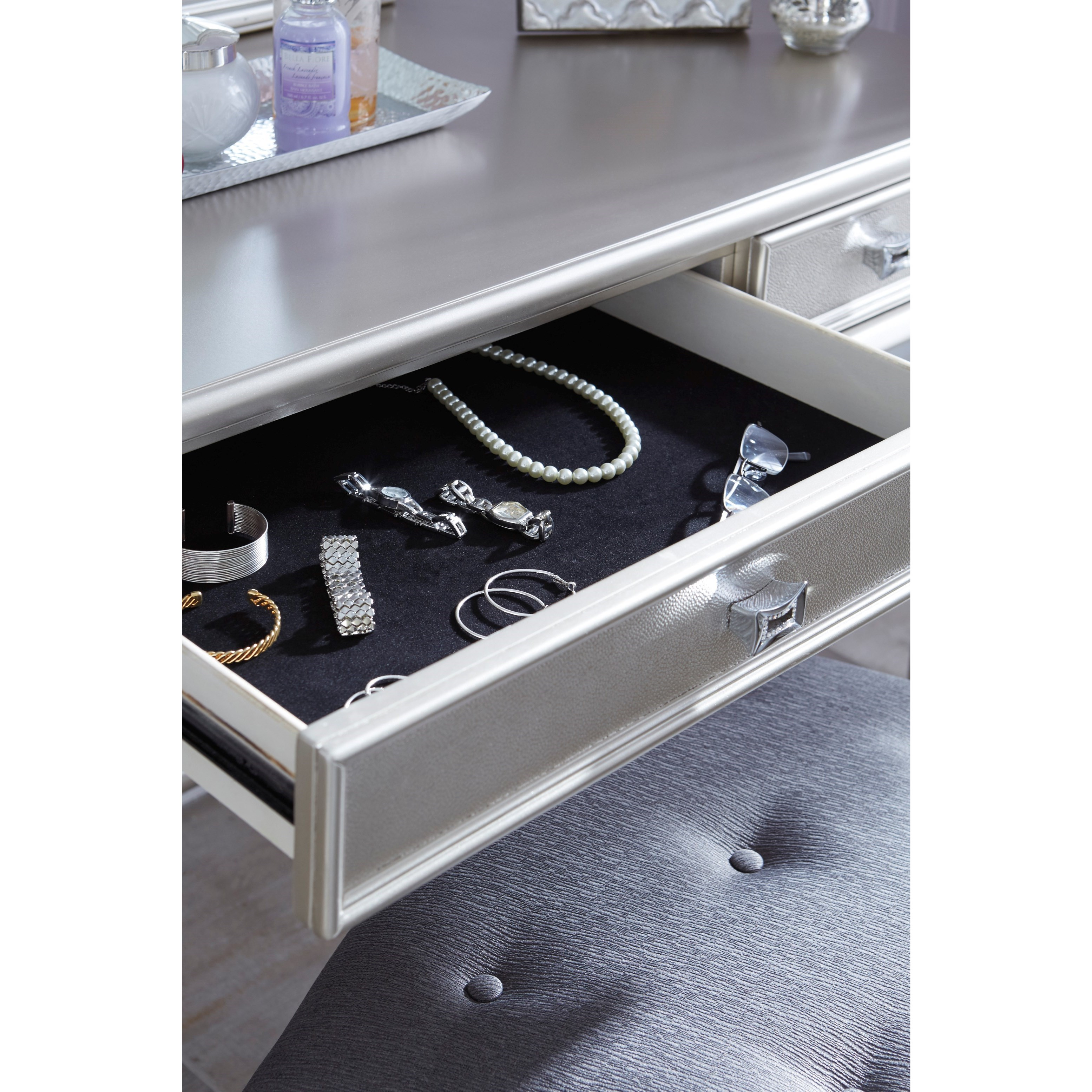 Signature Design By Ashley Coralayne Vanity Mirror In Silver Paint Finish Olinde 39 S Furniture