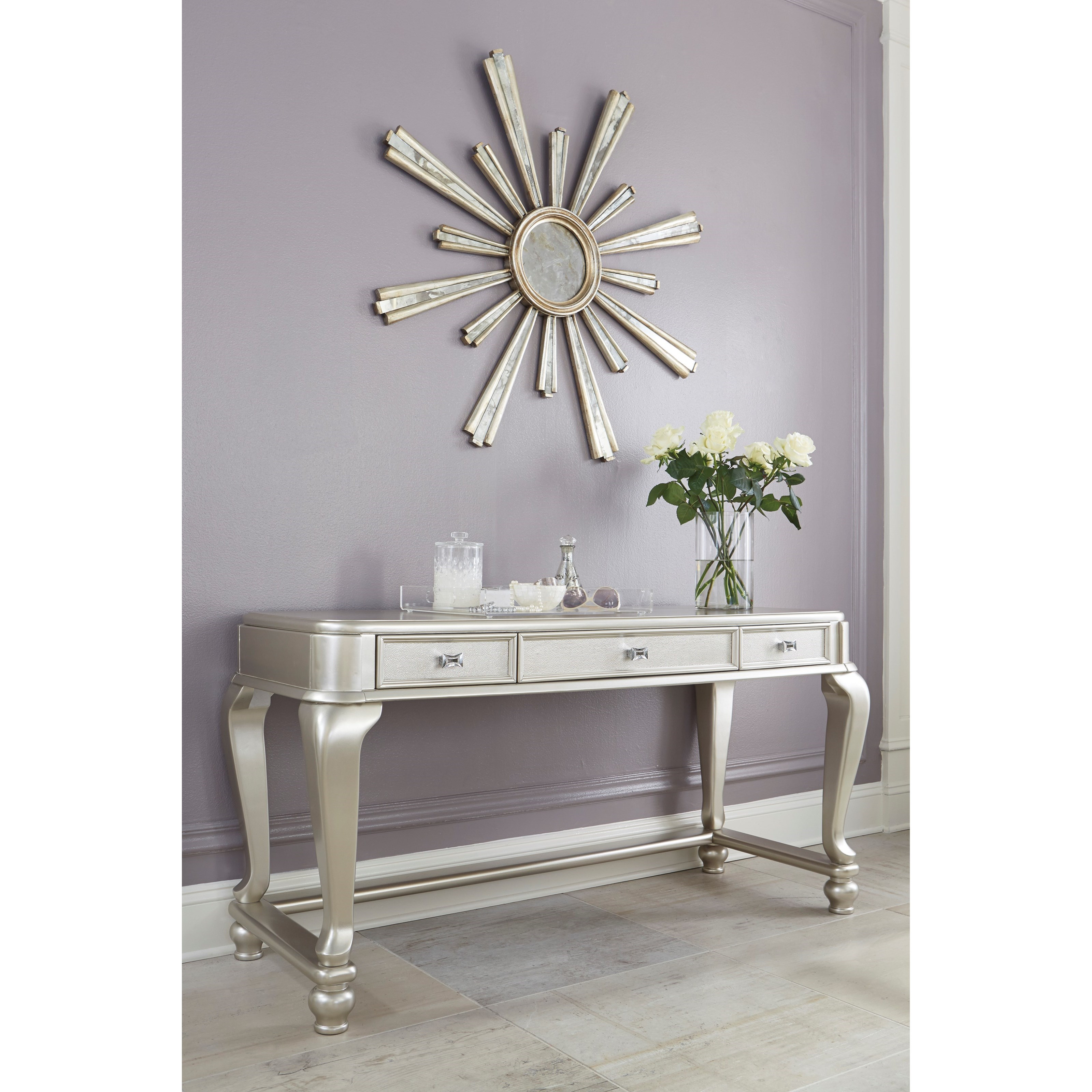 Signature Design By Ashley Coralayne Vanity Desk In Silver