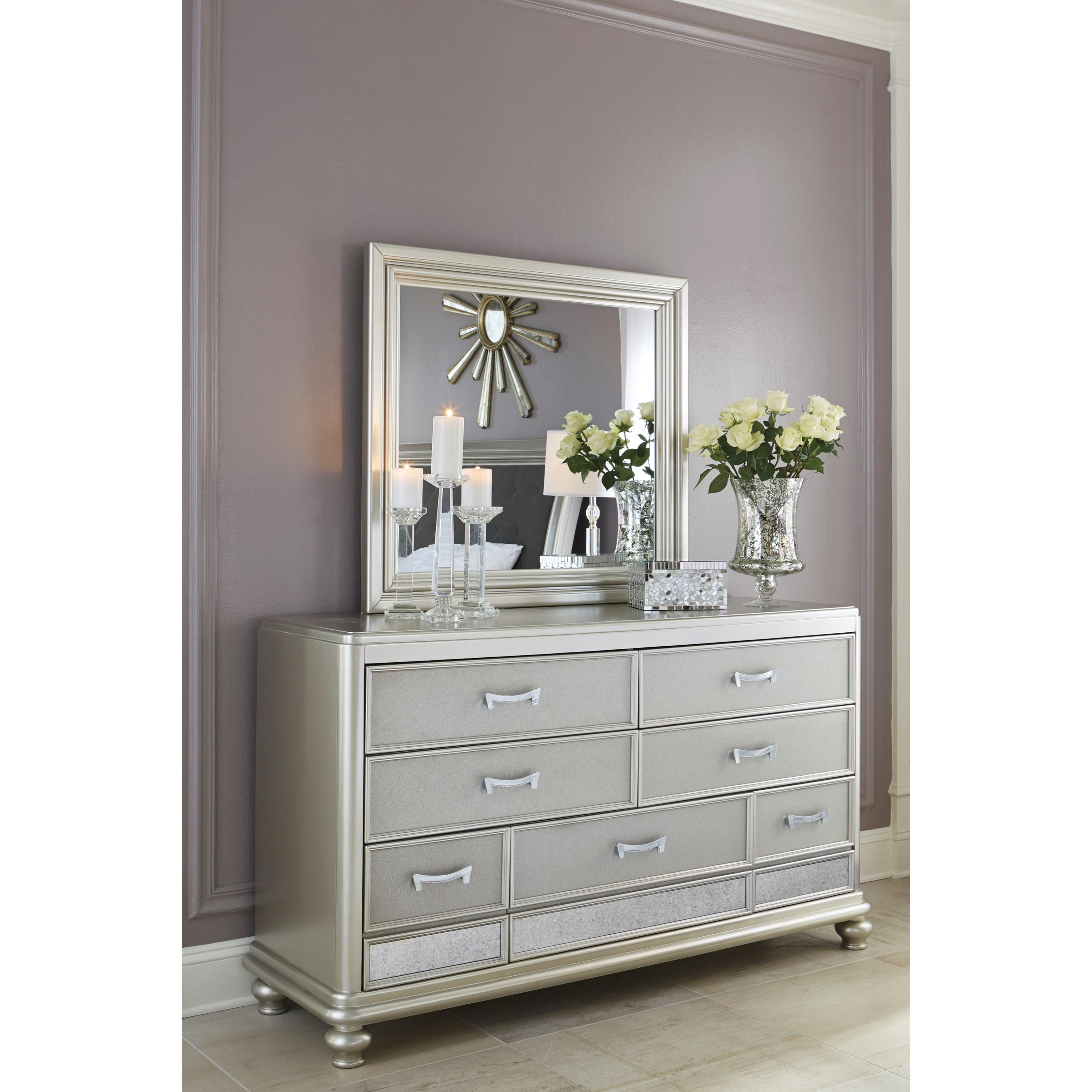 Signature Design By Ashley Coralayne B650 31 Dresser In Silver Paint Finish John V Schultz