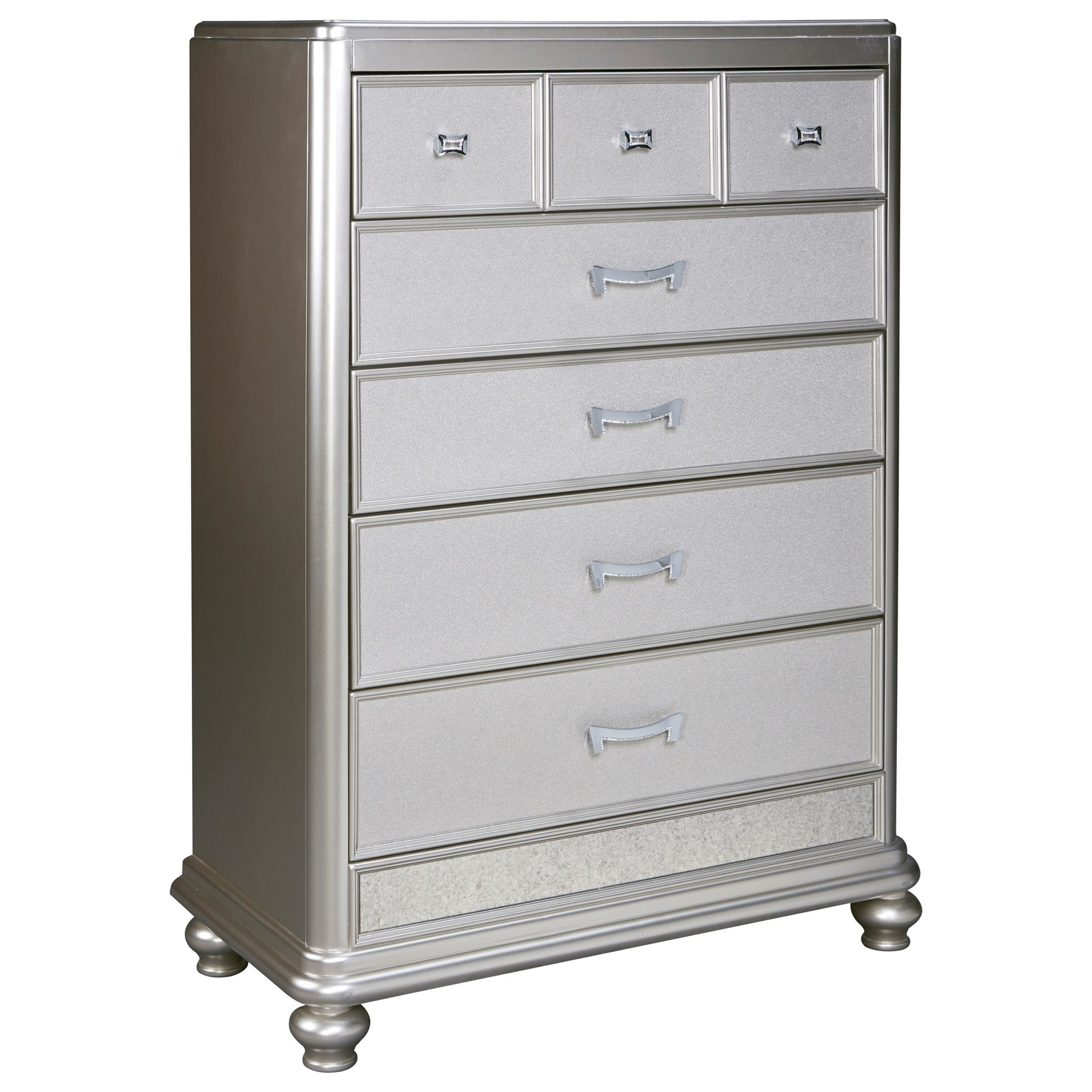 Signature Design By Ashley Coralayne B650 46 Five Drawer Chest In Silver Paint Finish Del Sol
