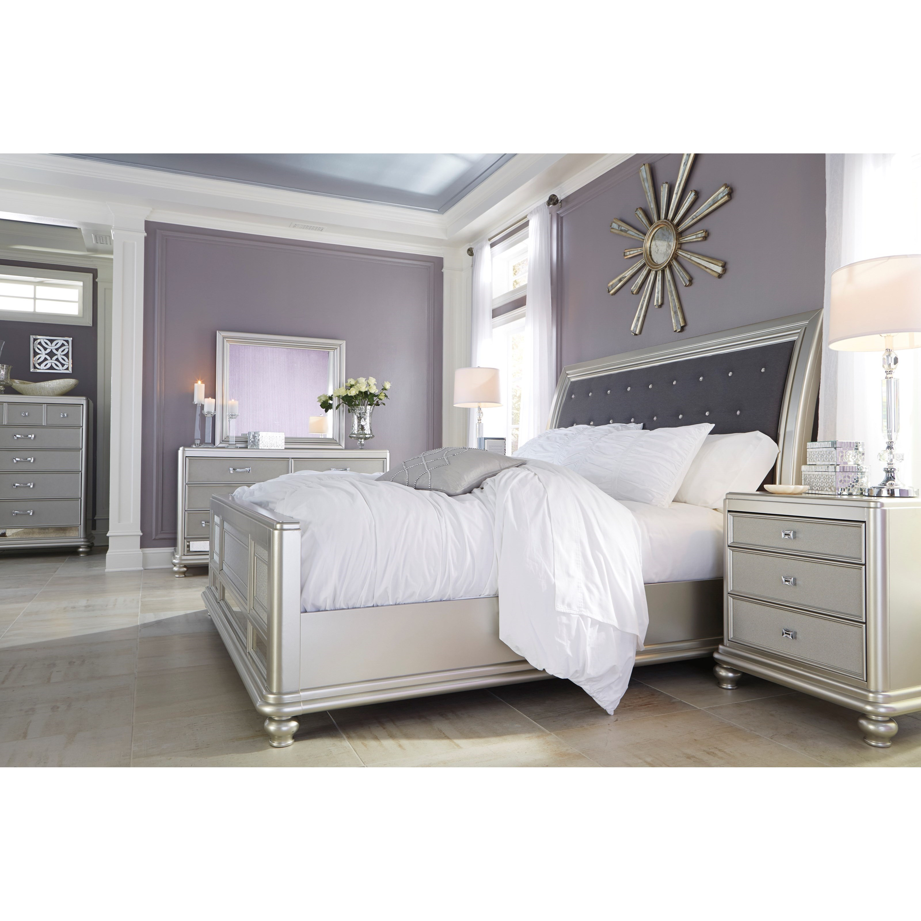 Signature Design By Ashley Coralayne California King Bed With Upholstered Sleigh Headboard And