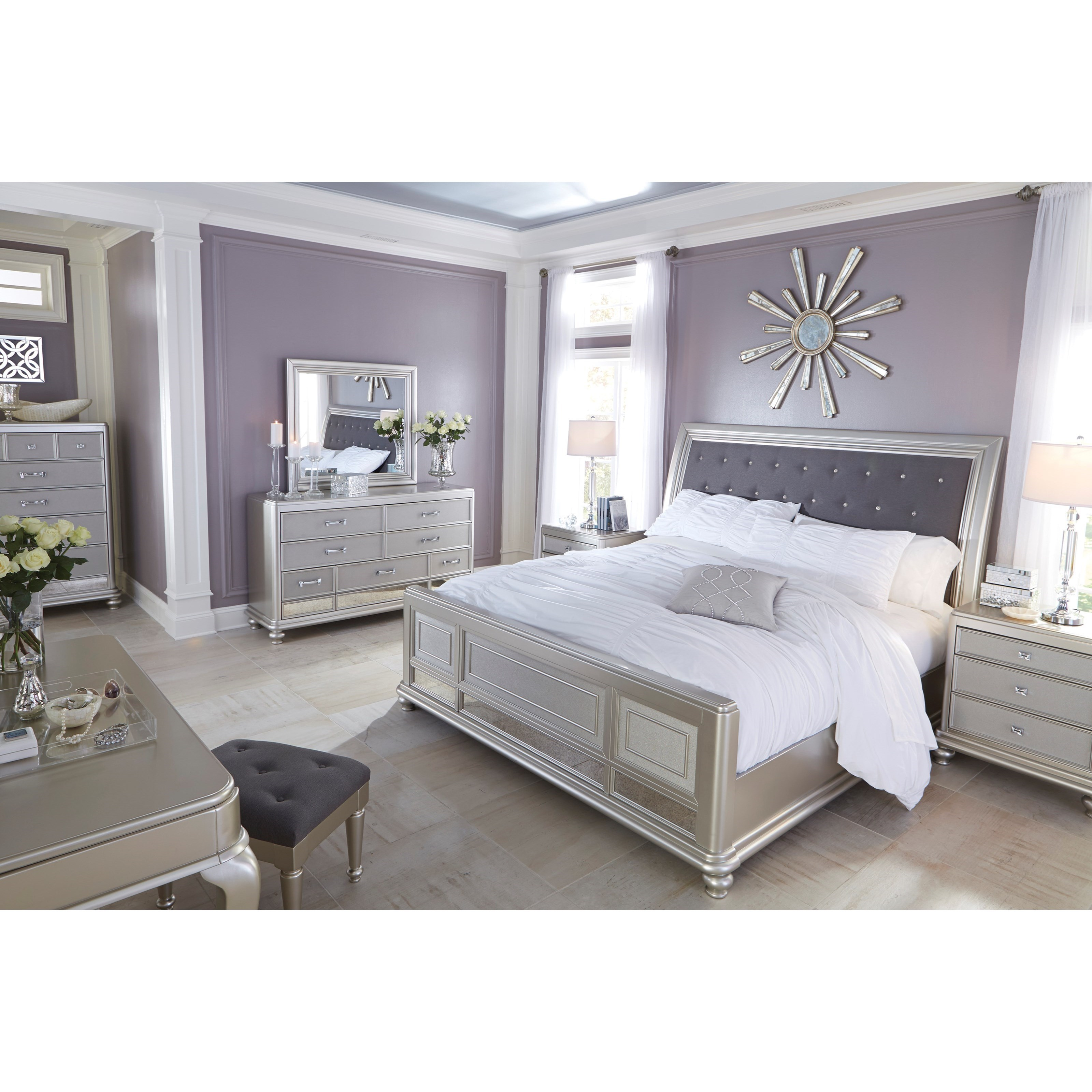 Signature Design By Ashley Coralayne Queen Bed With Upholstered Sleigh Headboard And Silver