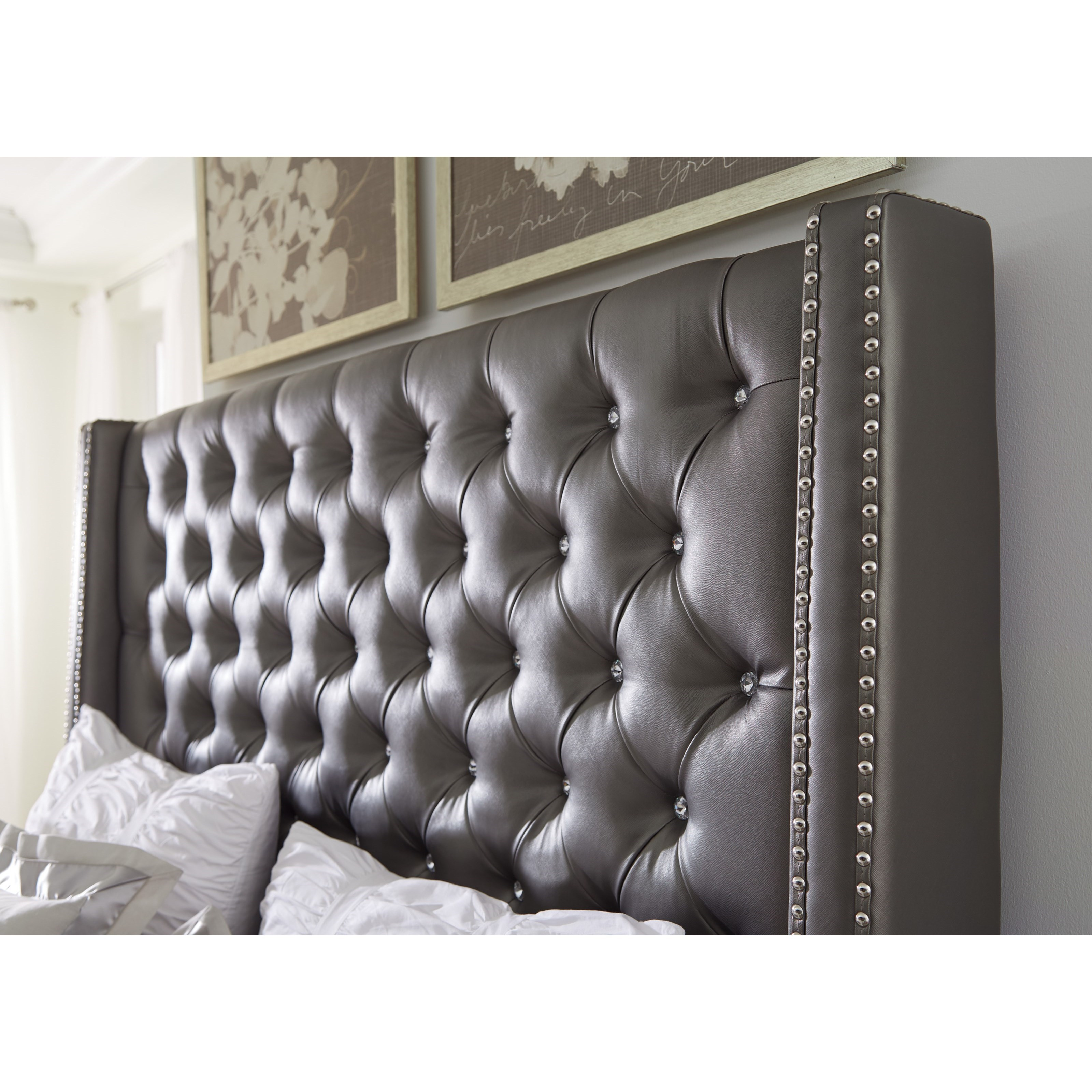Signature Design By Ashley Coralayne King Upholstered Bed With Tall Headboard With Faux Crystal