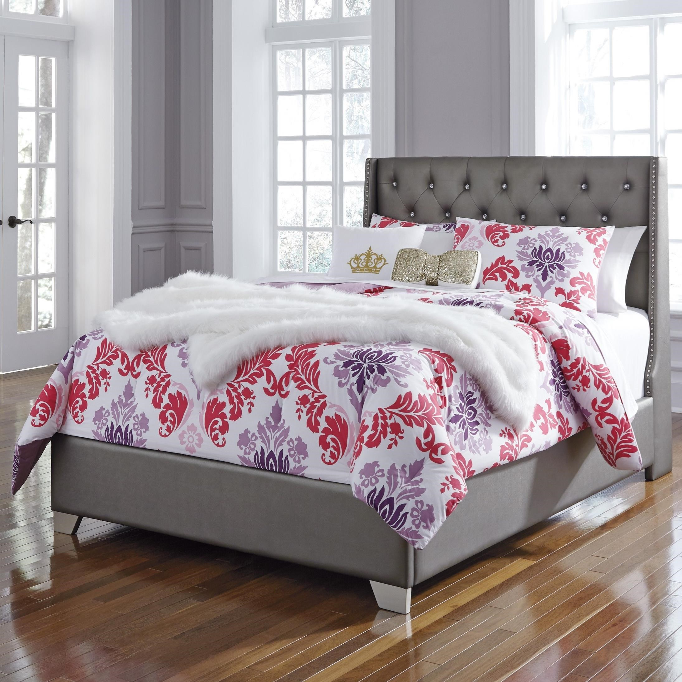 Signature Design By Ashley Coralayne Full Upholstered Bed With Tall Headboard With Faux Crystal