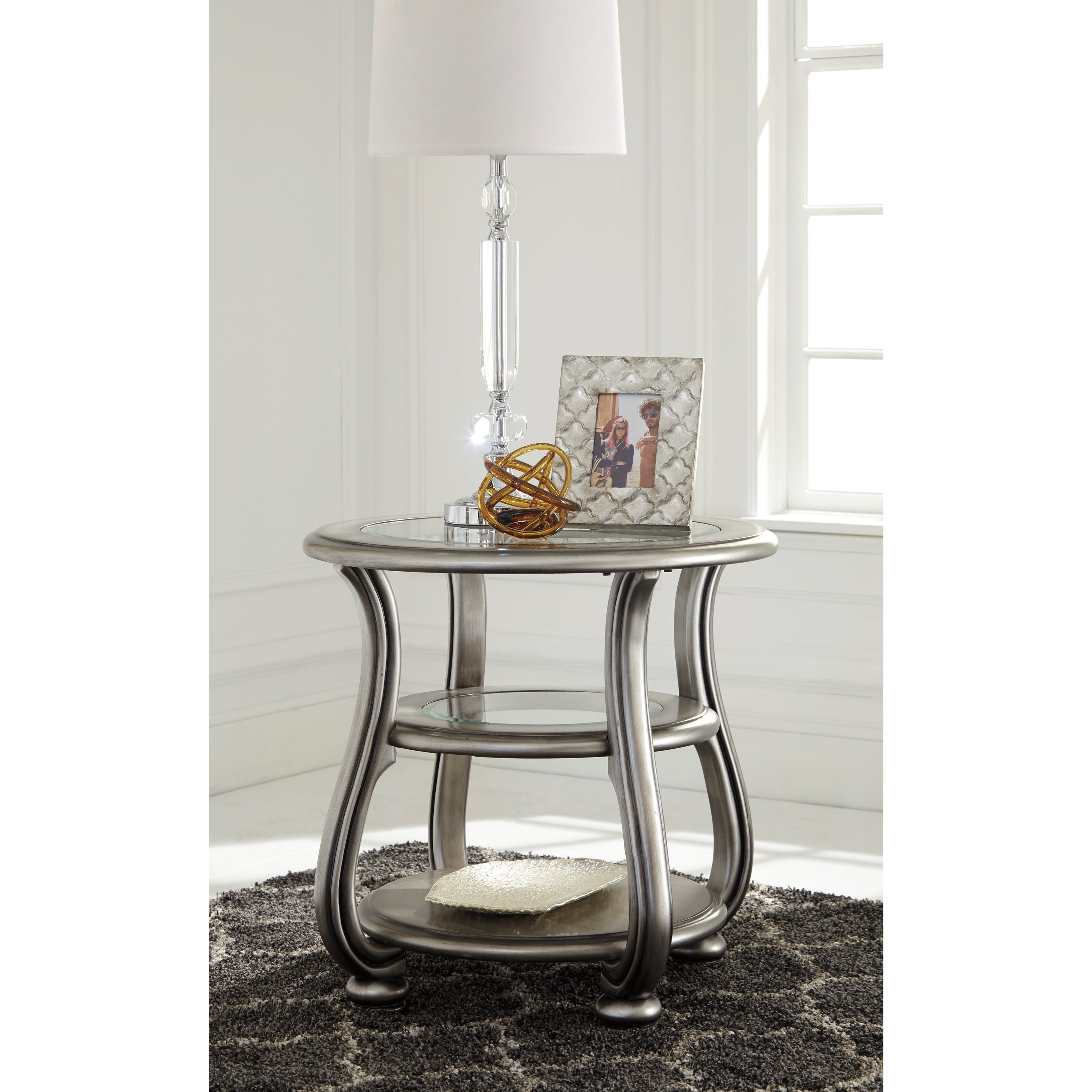 Ashley signature design coralayne t820 6 round end table for Bright colored side tables