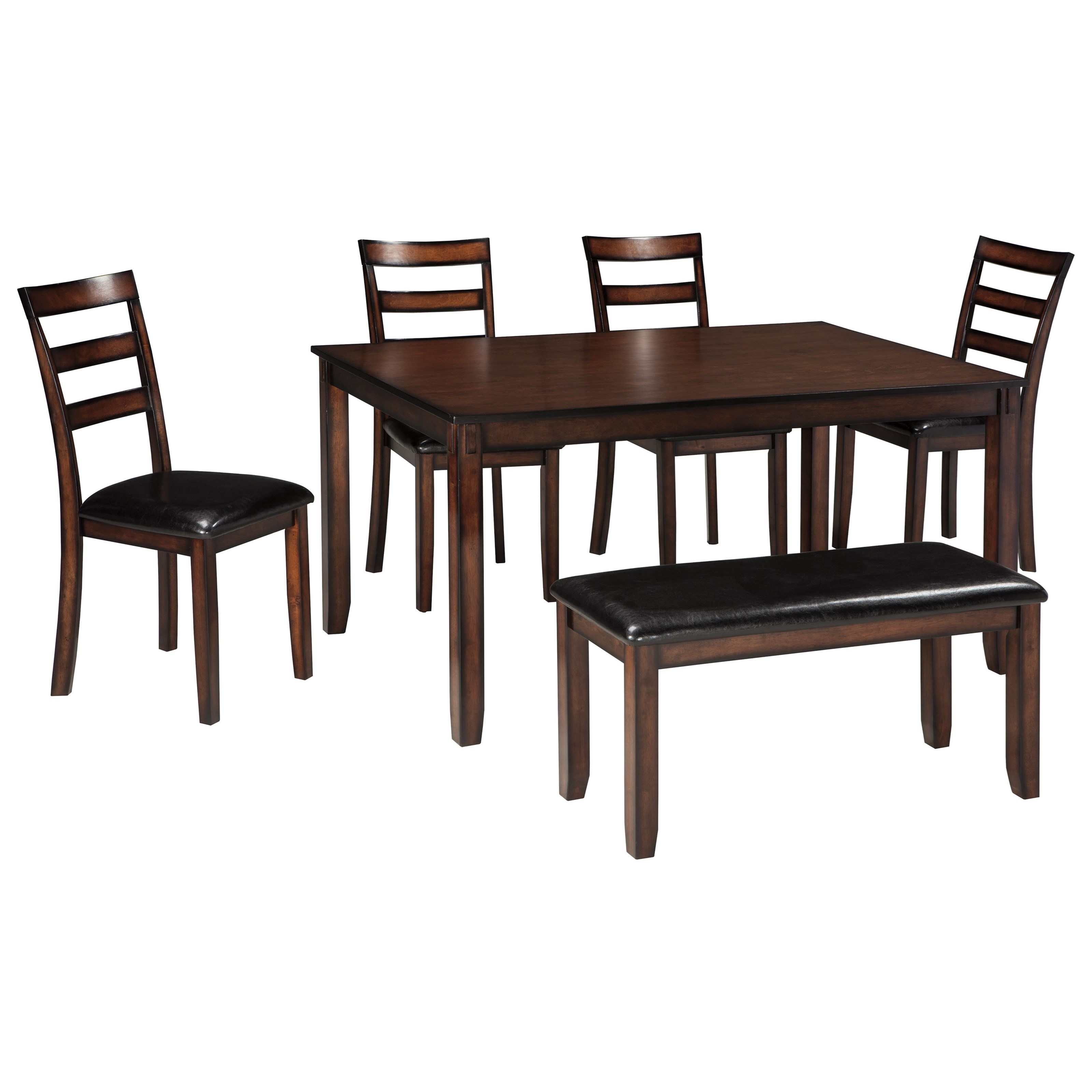 signature design by ashley coviar d385 325 burnished brown 6 piece dining table set with bench. Black Bedroom Furniture Sets. Home Design Ideas