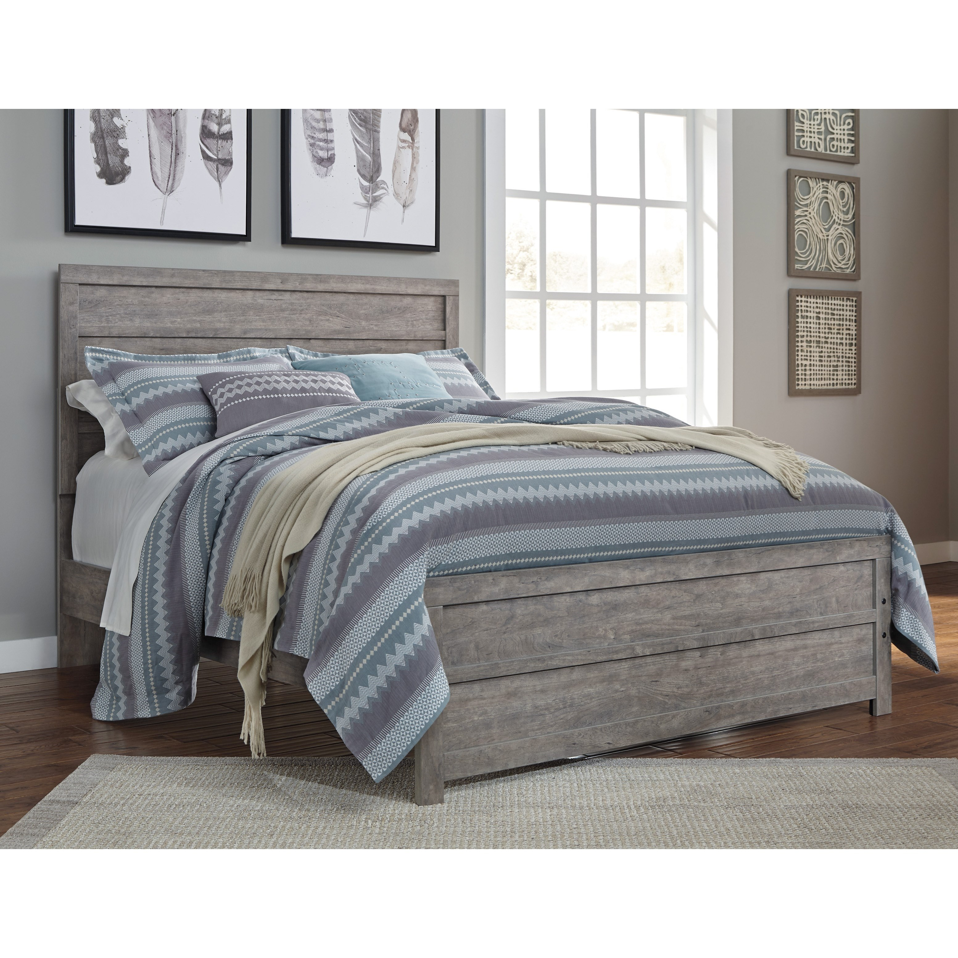 Signature design by ashley culverbach contemporary queen bed with low profile footboard value for Annifern poster bedroom collection