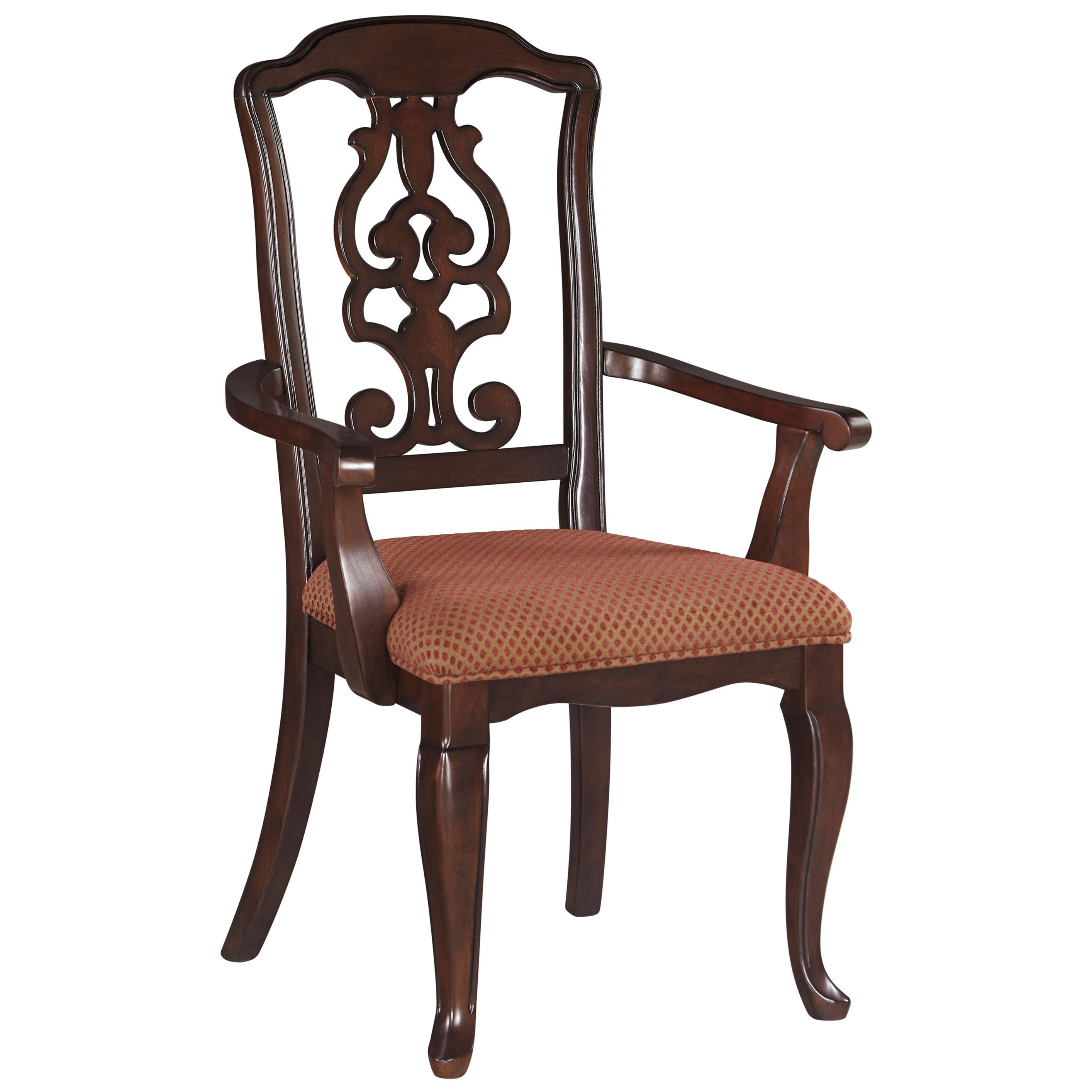 Ashley signature design gladdenville d578 01a traditional for Upholstered arm dining chairs