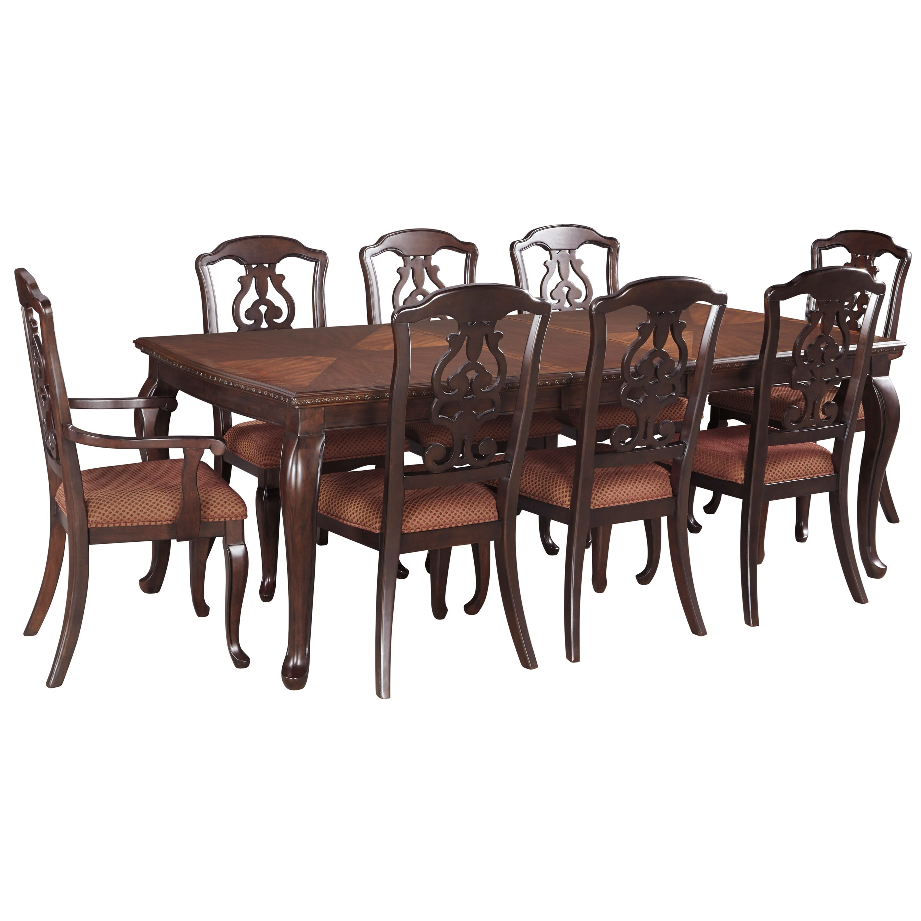 Signature design by ashley gladdenville traditional 9 for Traditional dining table with bench