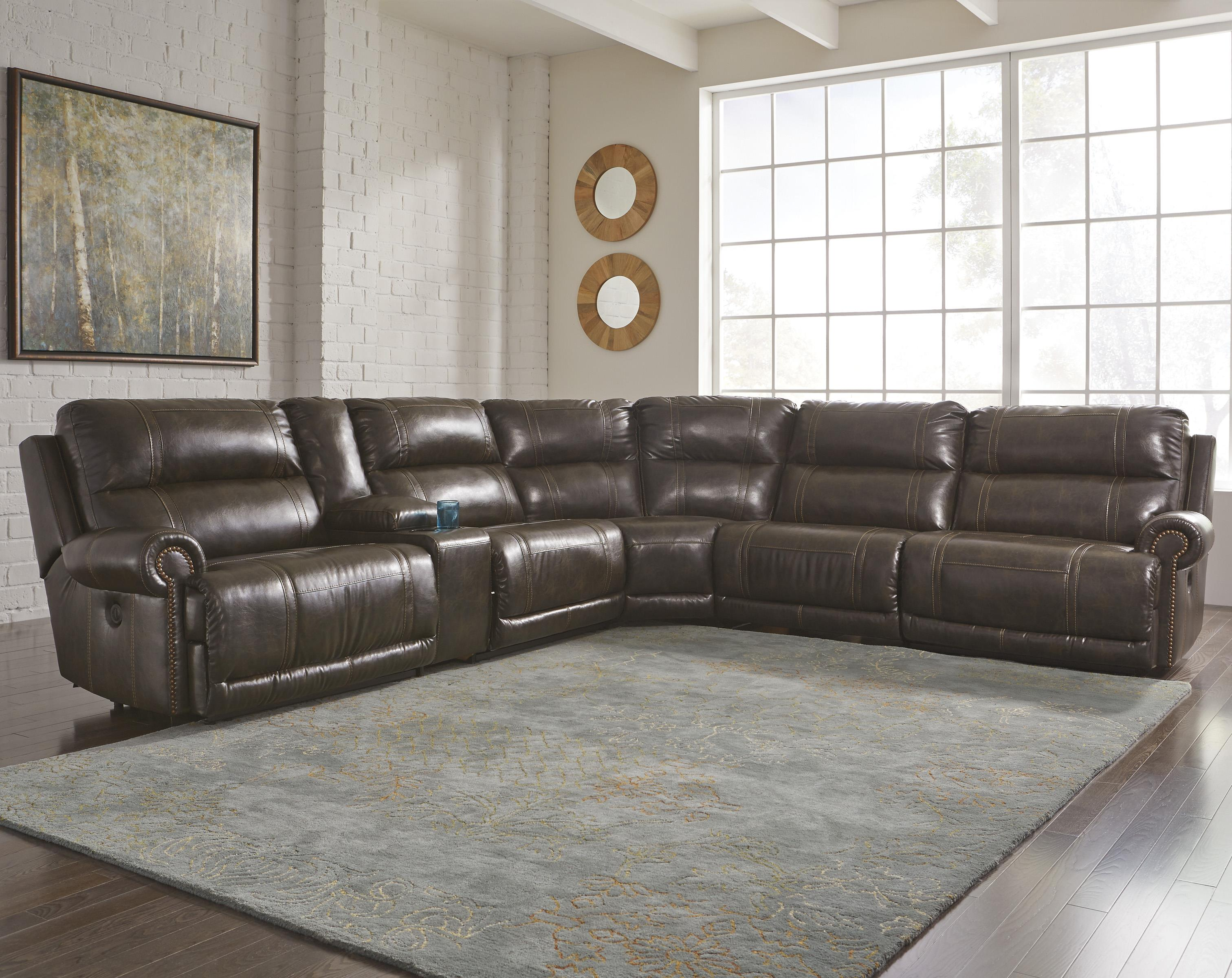 Signature design by ashley dak durablend 6 piece power for Sofa exterior reclinable