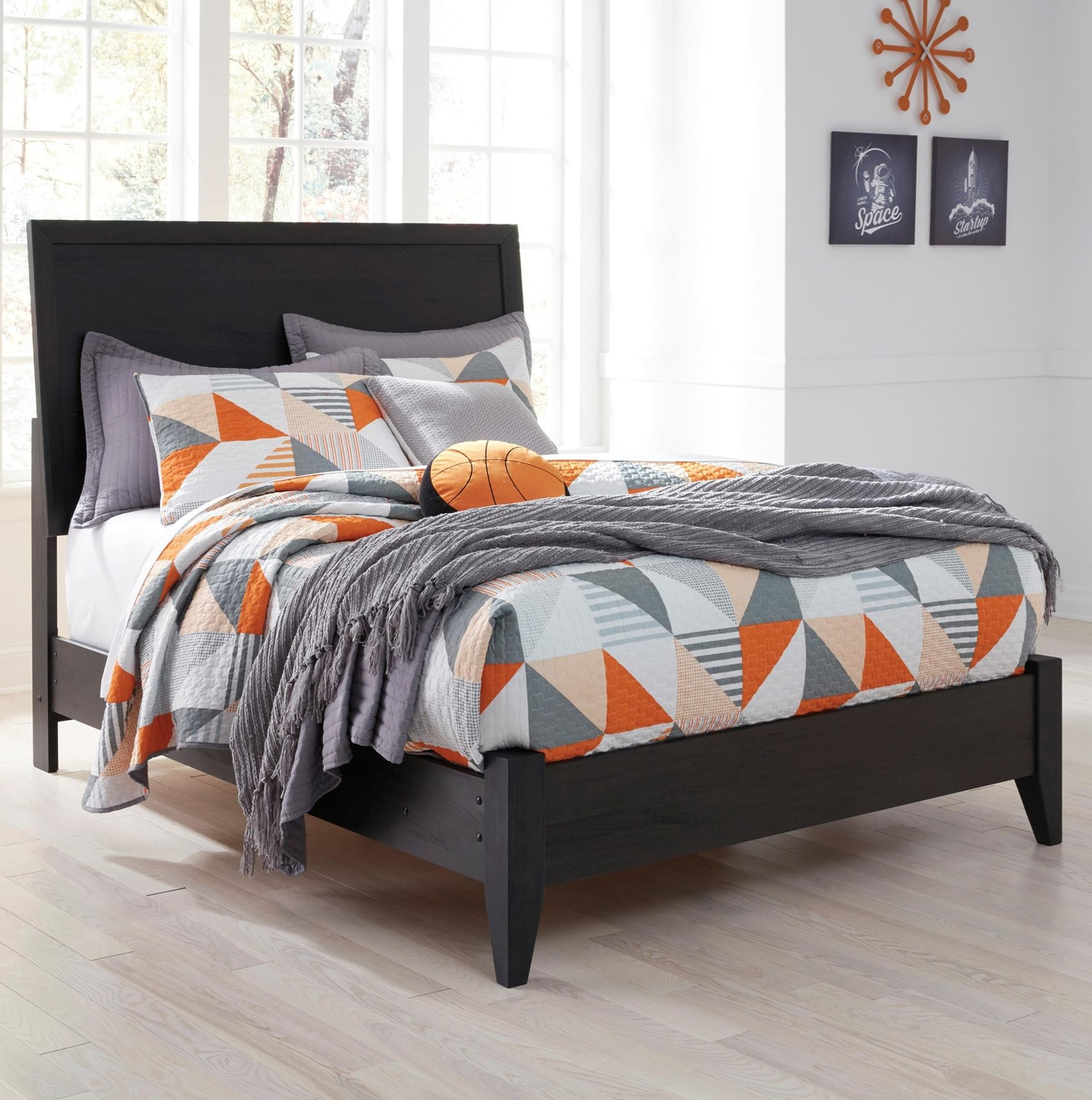Ashley Signature Design Daltori Queen Panel Bed With Low Profile Footboard Dunk Bright