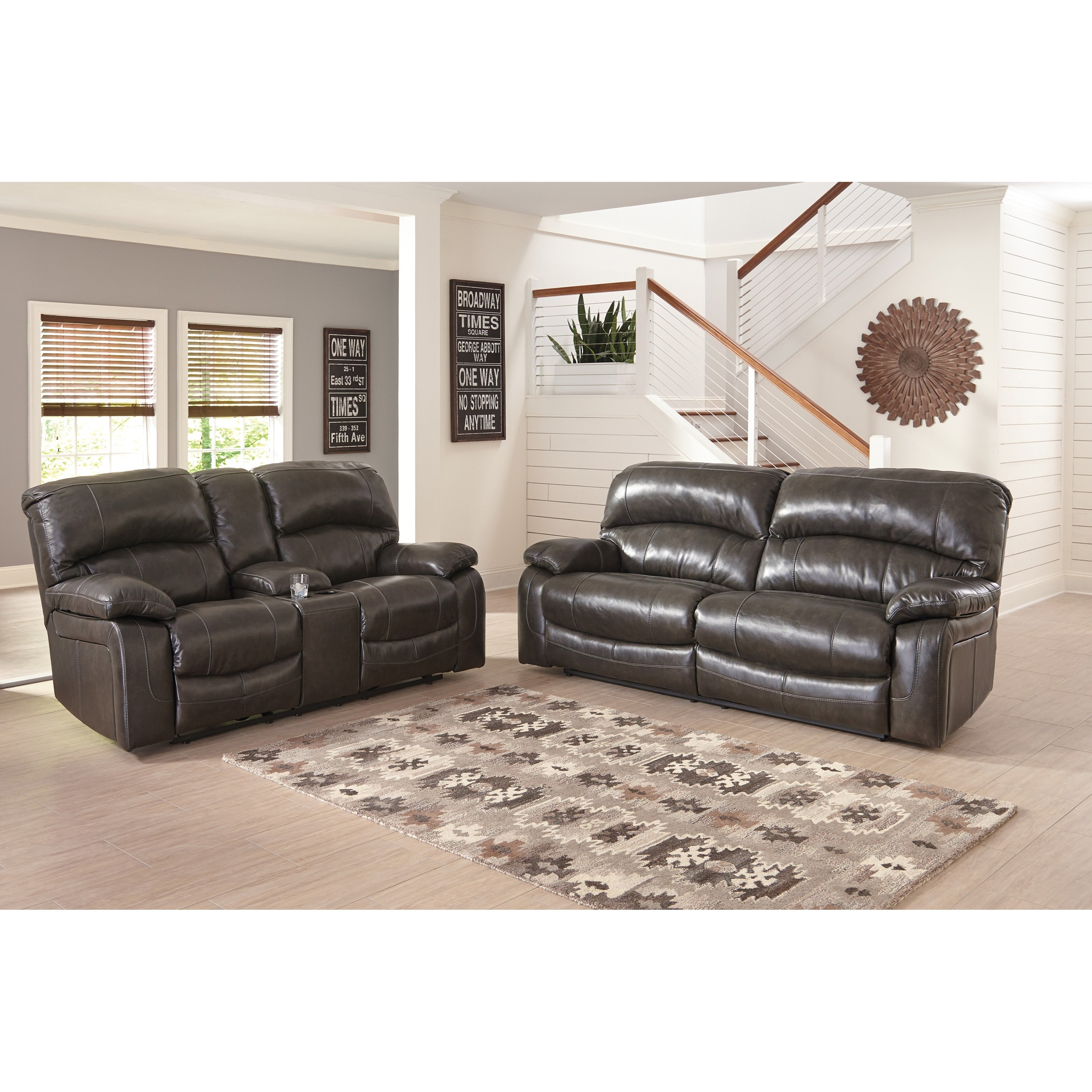 Signature design by ashley damacio metal reclining for Living room furniture groups