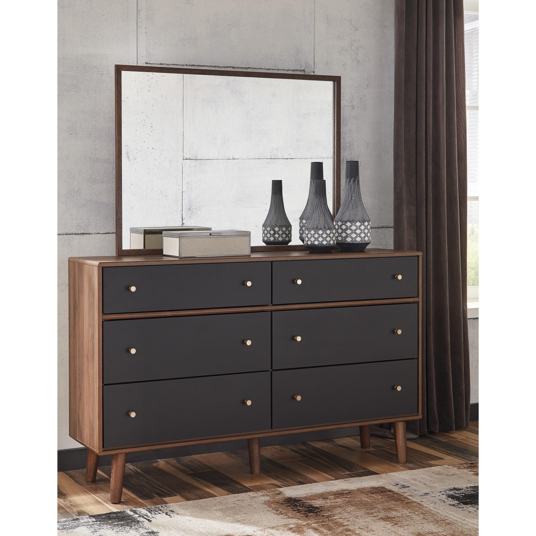 signature design by ashley daneston mid century modern dresser and mirror set del sol. Black Bedroom Furniture Sets. Home Design Ideas