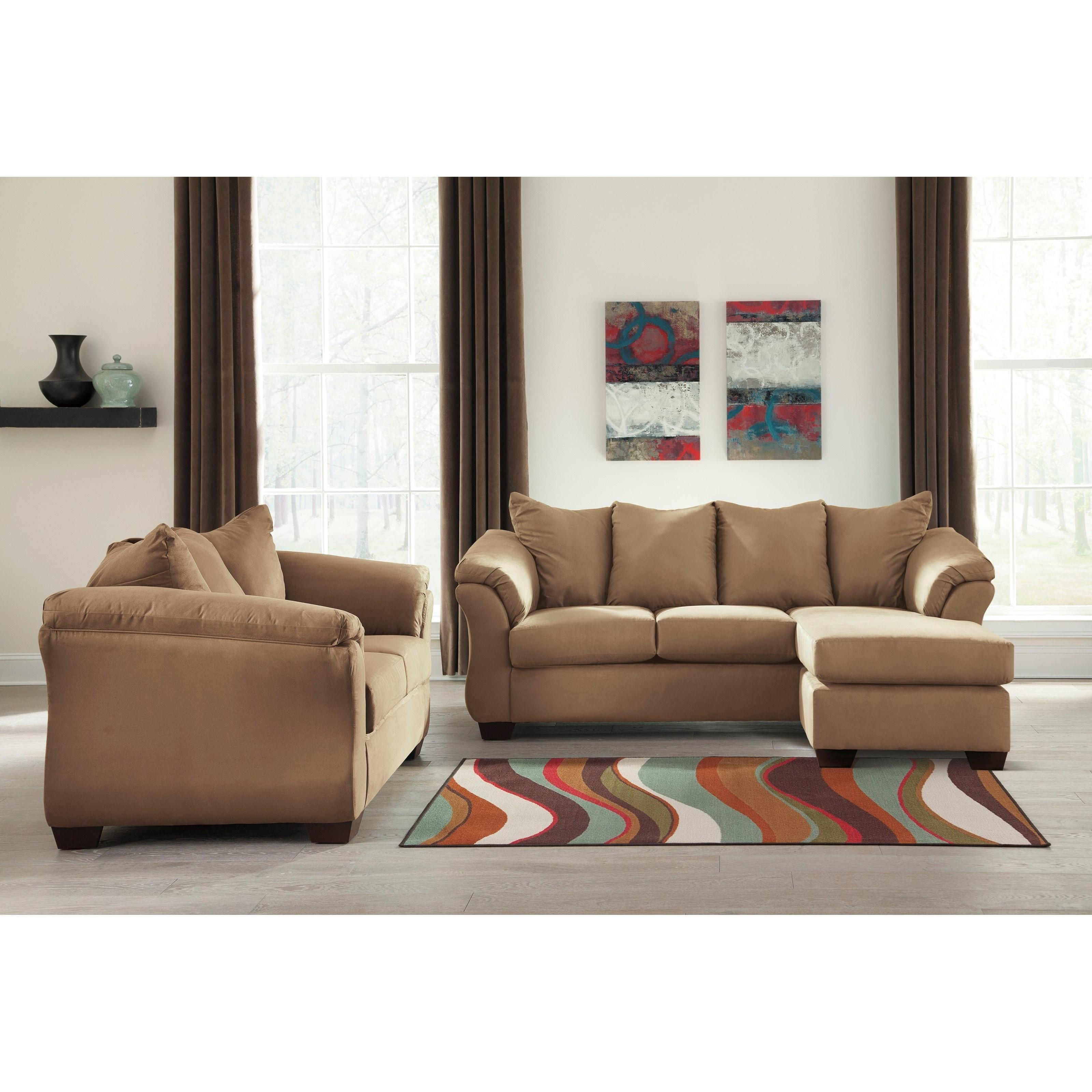 Signature Design By Ashley Darcy Mocha Stationary Living Room Group Olinde 39 S Furniture