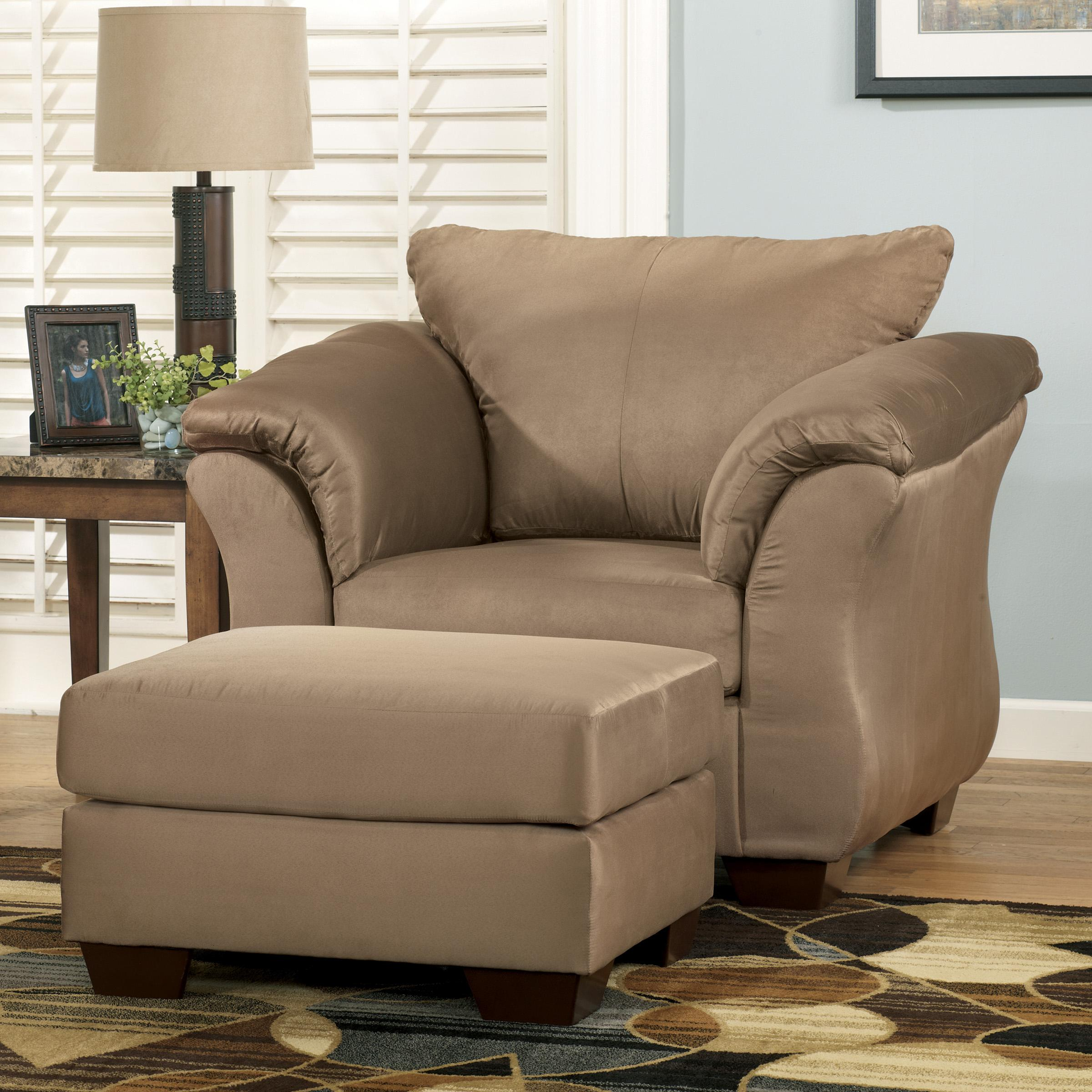 Signature Design By Ashley Darcy Mocha Contemporary Upholstered Chair And Ottoman With Tapered