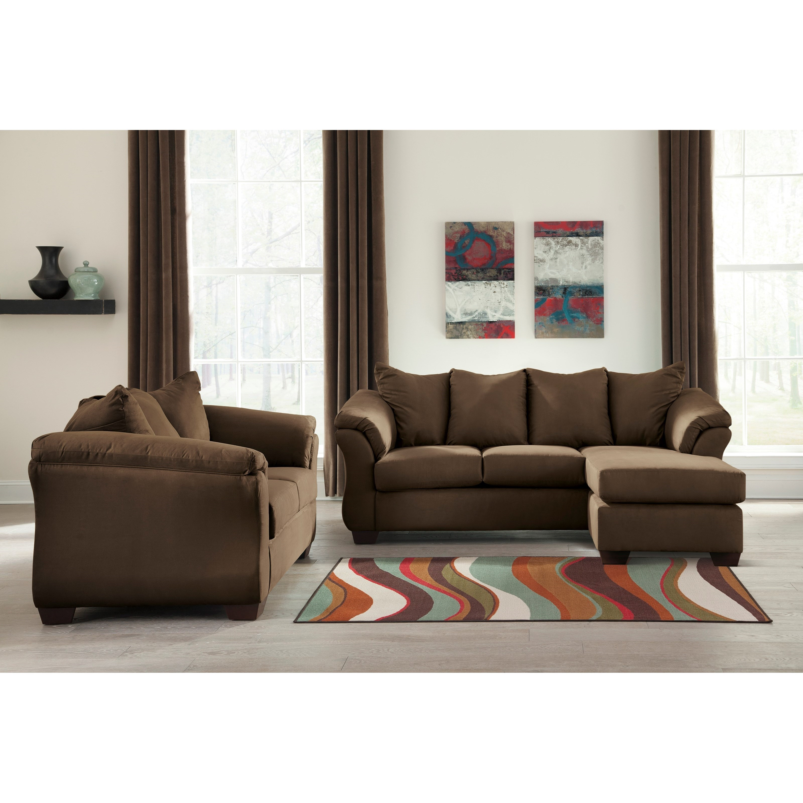 Signature design by ashley darcy cafe stationary living for Living room furniture groups