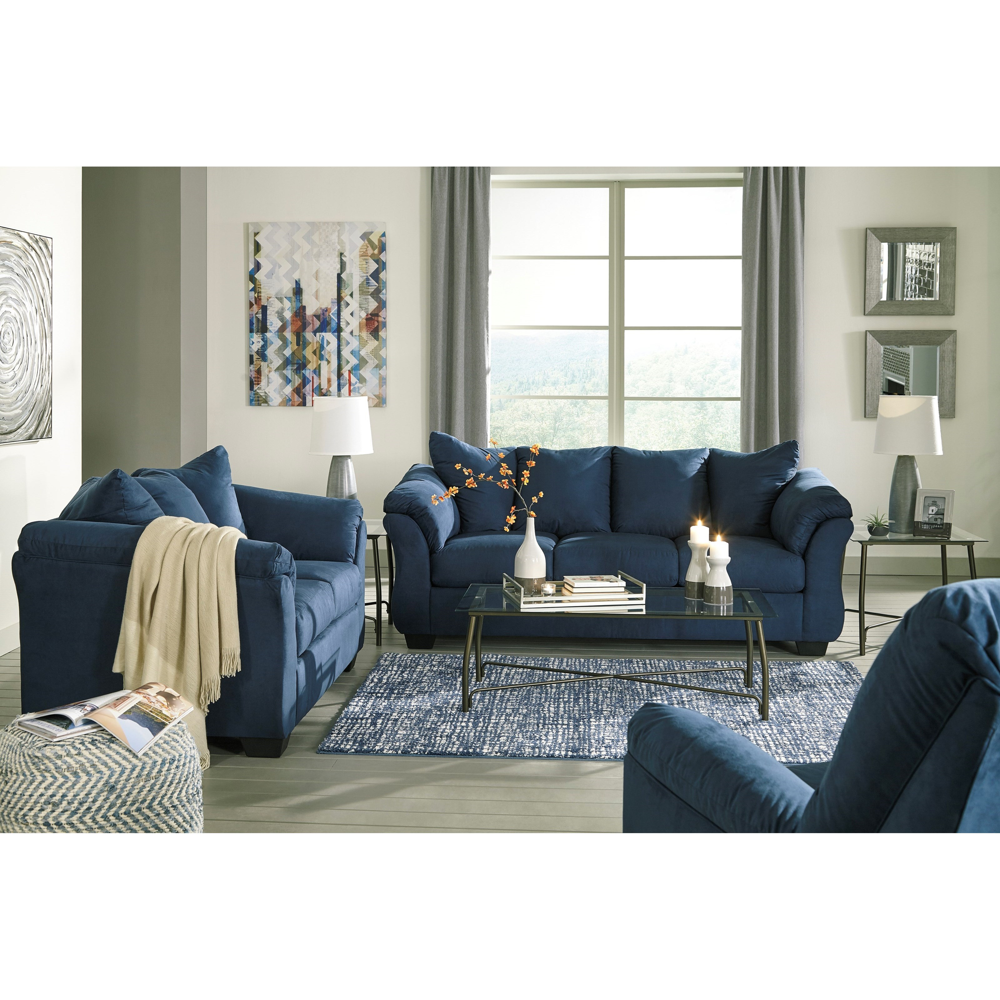 Ashley signature design darcy blue stationary living for Living room furniture groups