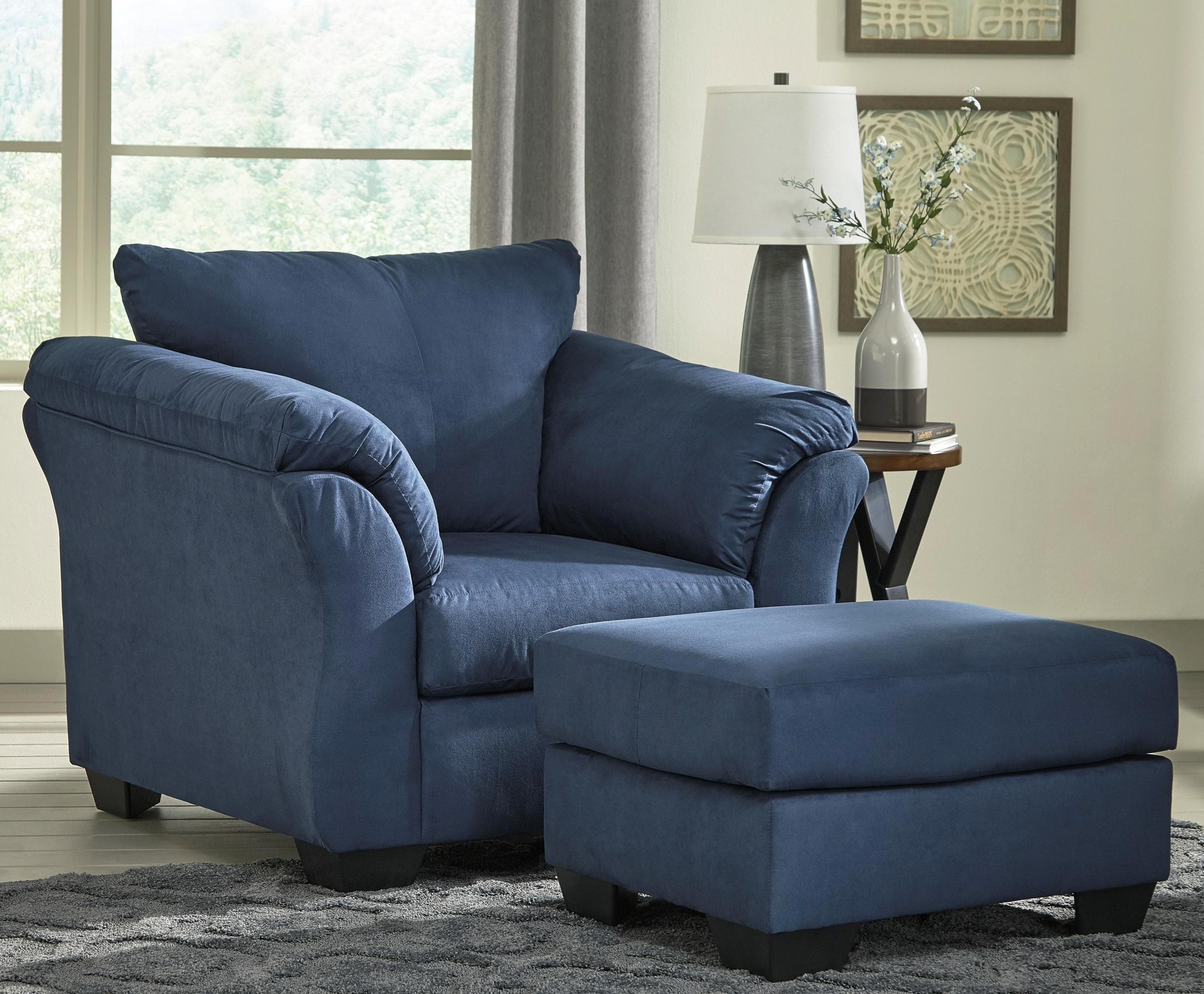 Ashley Signature Design Darcy Blue Contemporary Upholstered Chair And Ottoman With Tapered