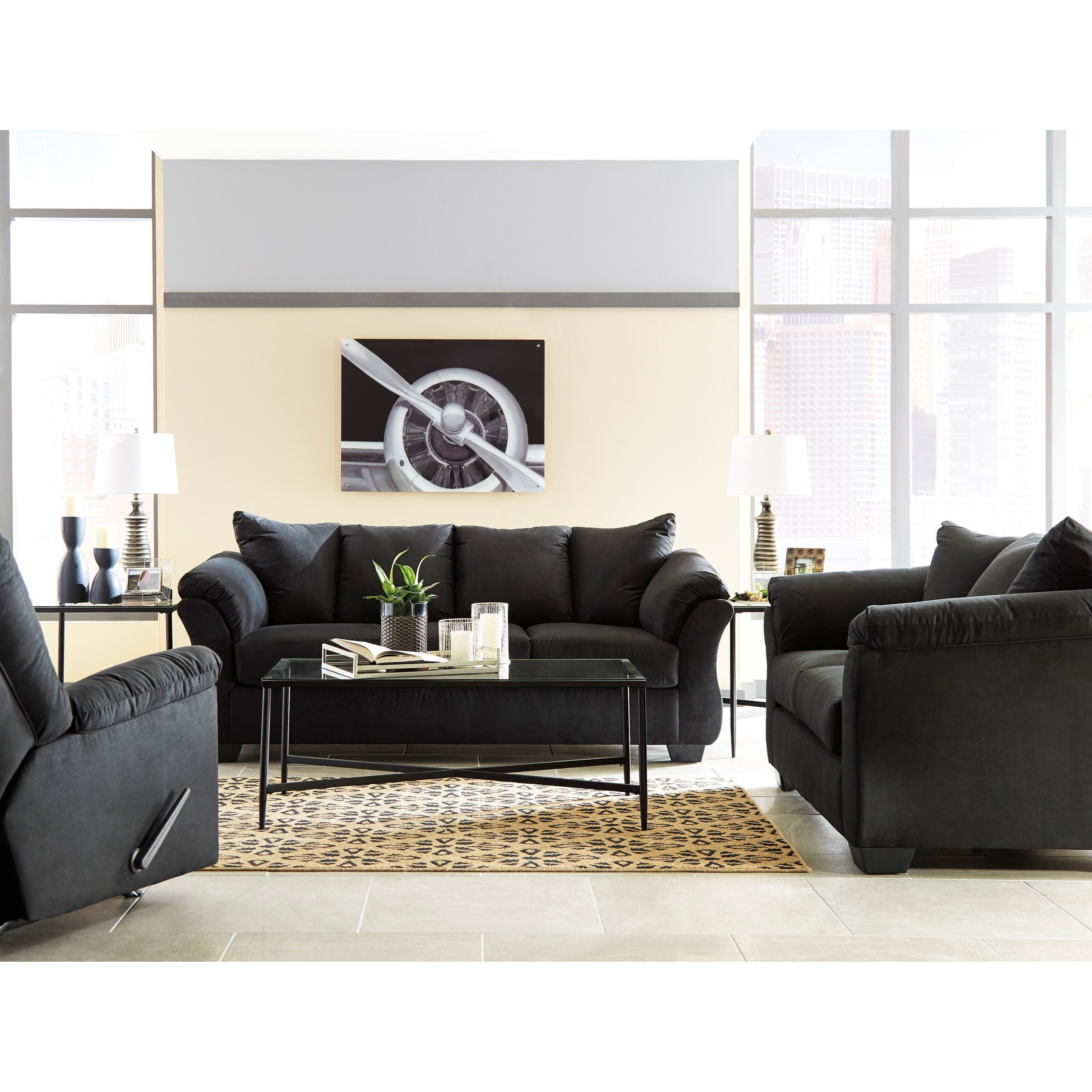 Signature design by ashley darcy black stationary living for Living room furniture groups