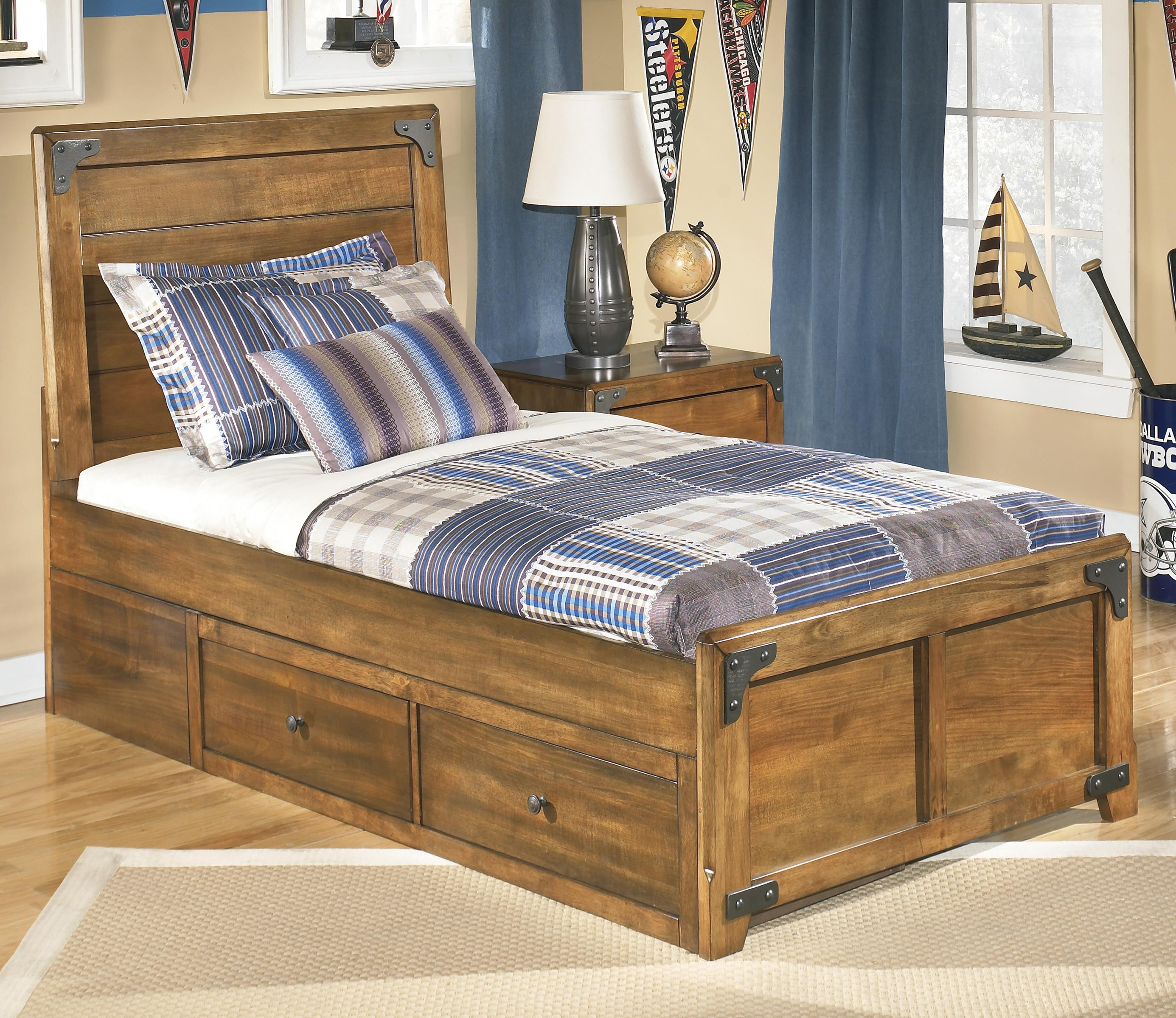 Signature design by ashley delburne twin platform pedestal for Twin bed with storage