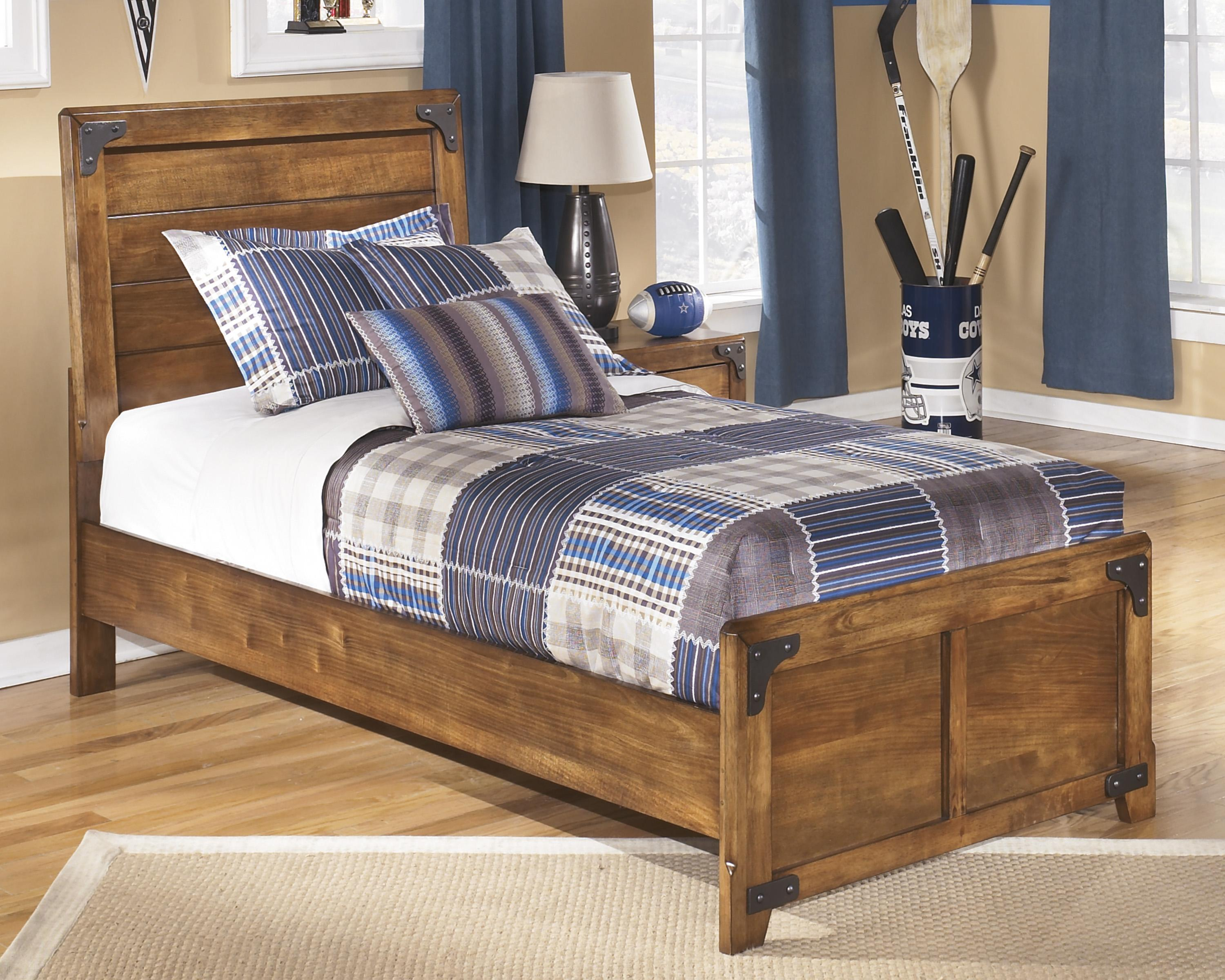 Signature Design By Ashley Delburne Twin Panel Bed In Rustic Pine Del Sol Furniture