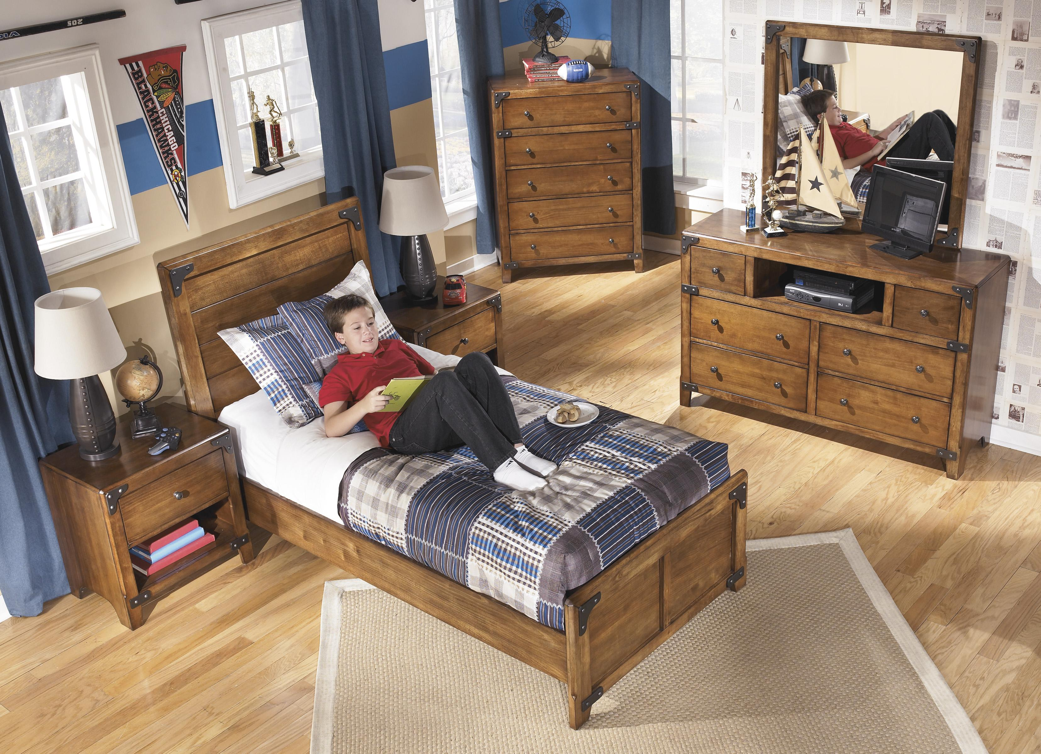 signature design by ashley delburne twin panel bed in