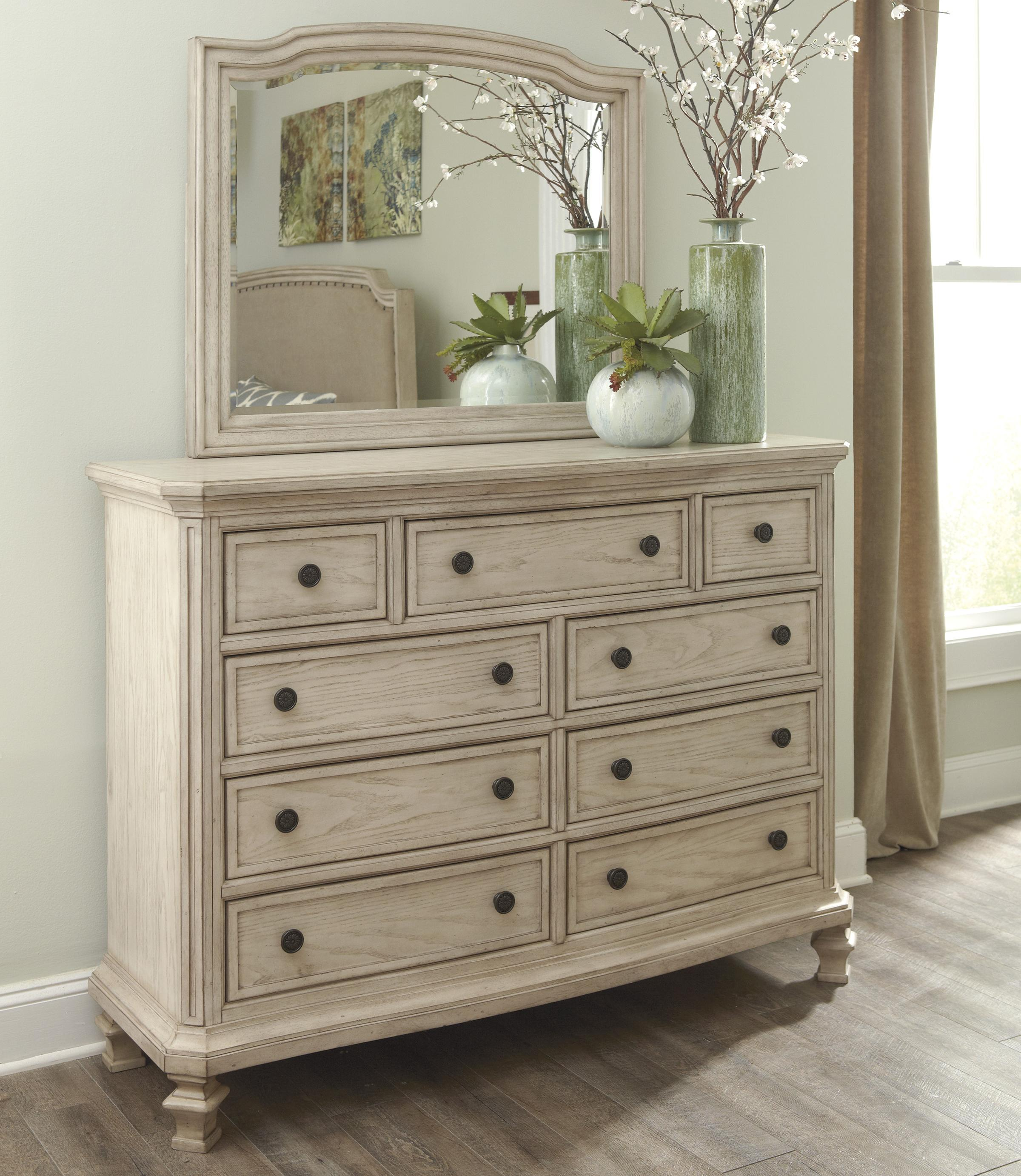 Signature Design By Ashley Demarlos Vintage Parchment White Finish Dresser With 9 Drawers