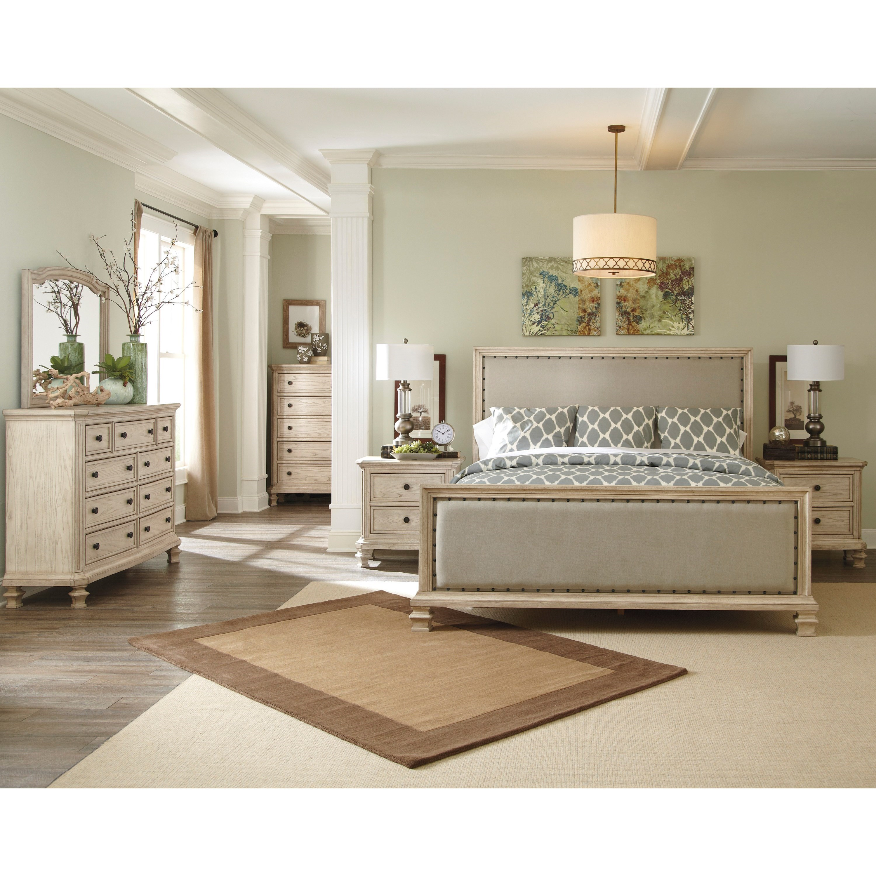 Signature design by ashley demarlos queen upholstered panel bed with upholstered footboard for Demarlos upholstered panel bedroom set
