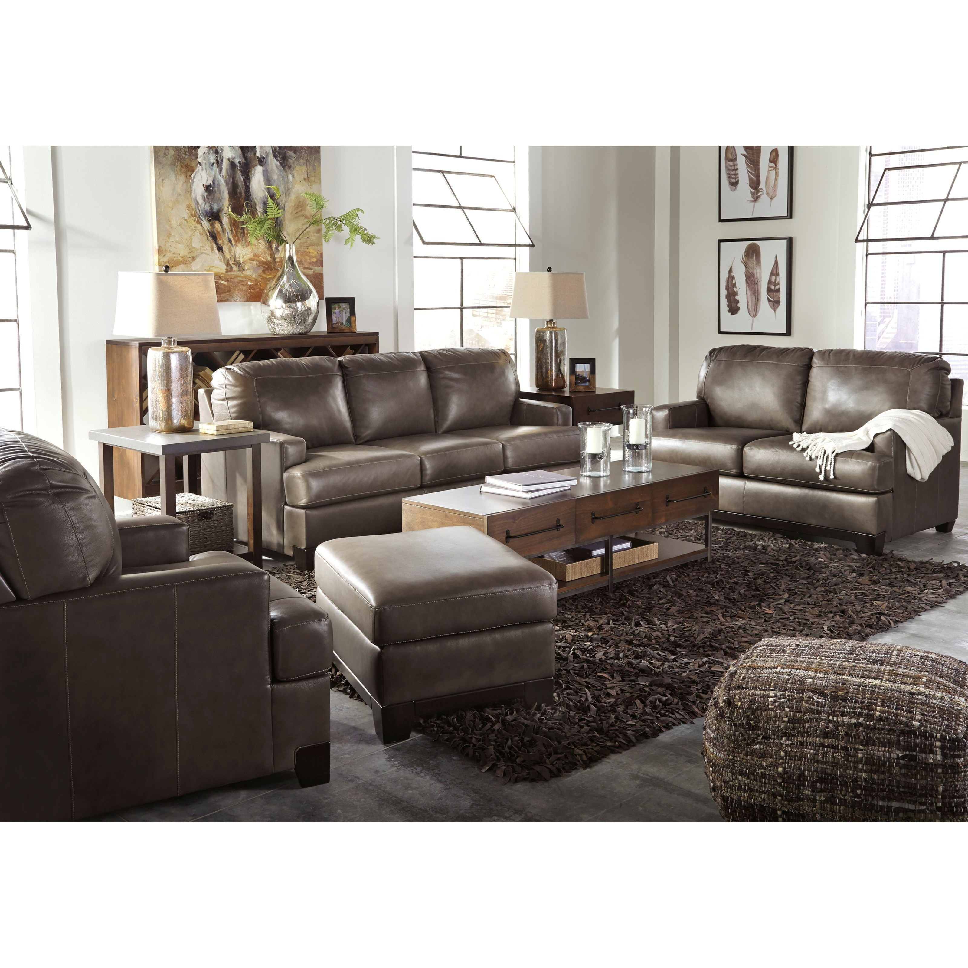 Ashley signature design derwood stationary living room for Living room furniture groups