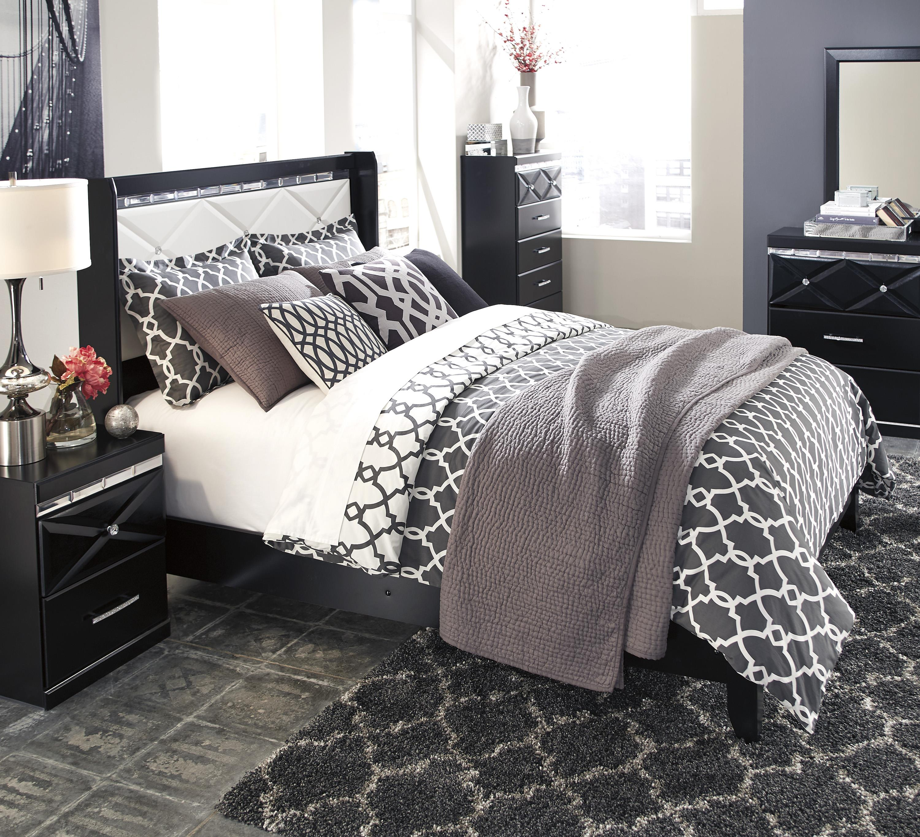 Signature Design By Ashley Fancee Queen Panel Bed With Faux Crystals Del Sol Furniture