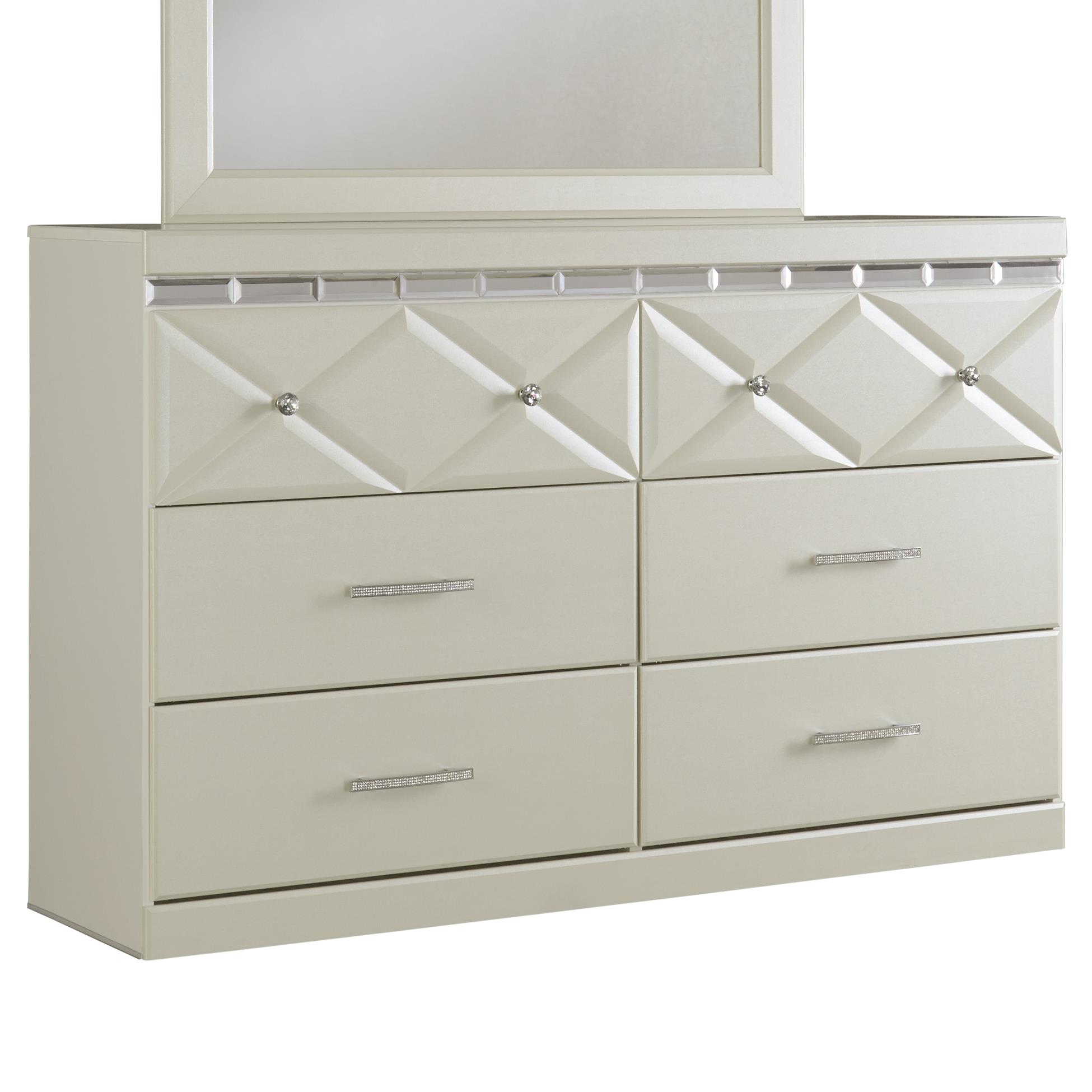 Signature design by ashley dreamur 6 drawer dresser with for Crystal bureau knobs