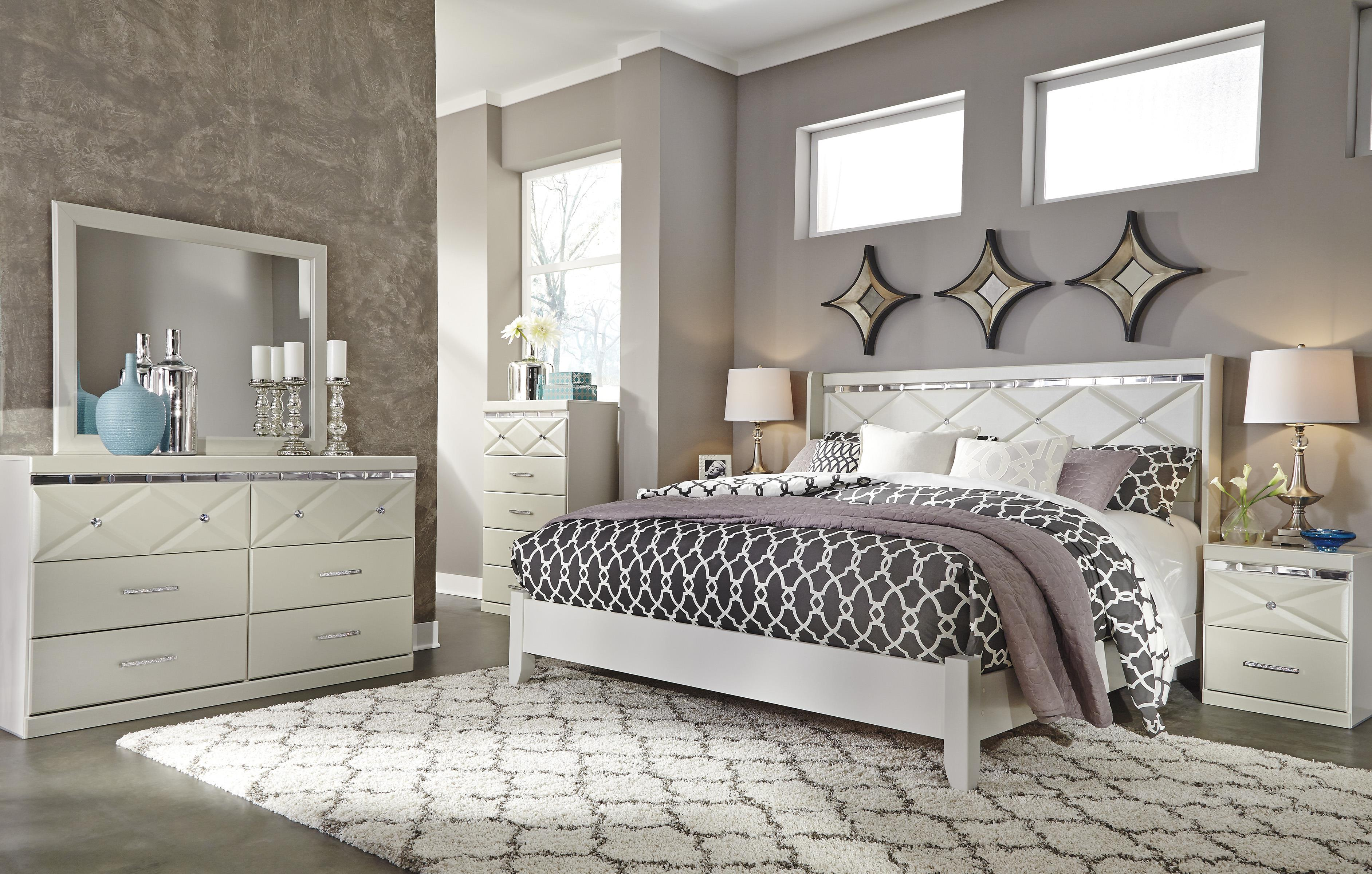 Signature Design By Ashley Dreamur B351 31 6 Drawer Dresser With Faux Crystal Accents Del Sol