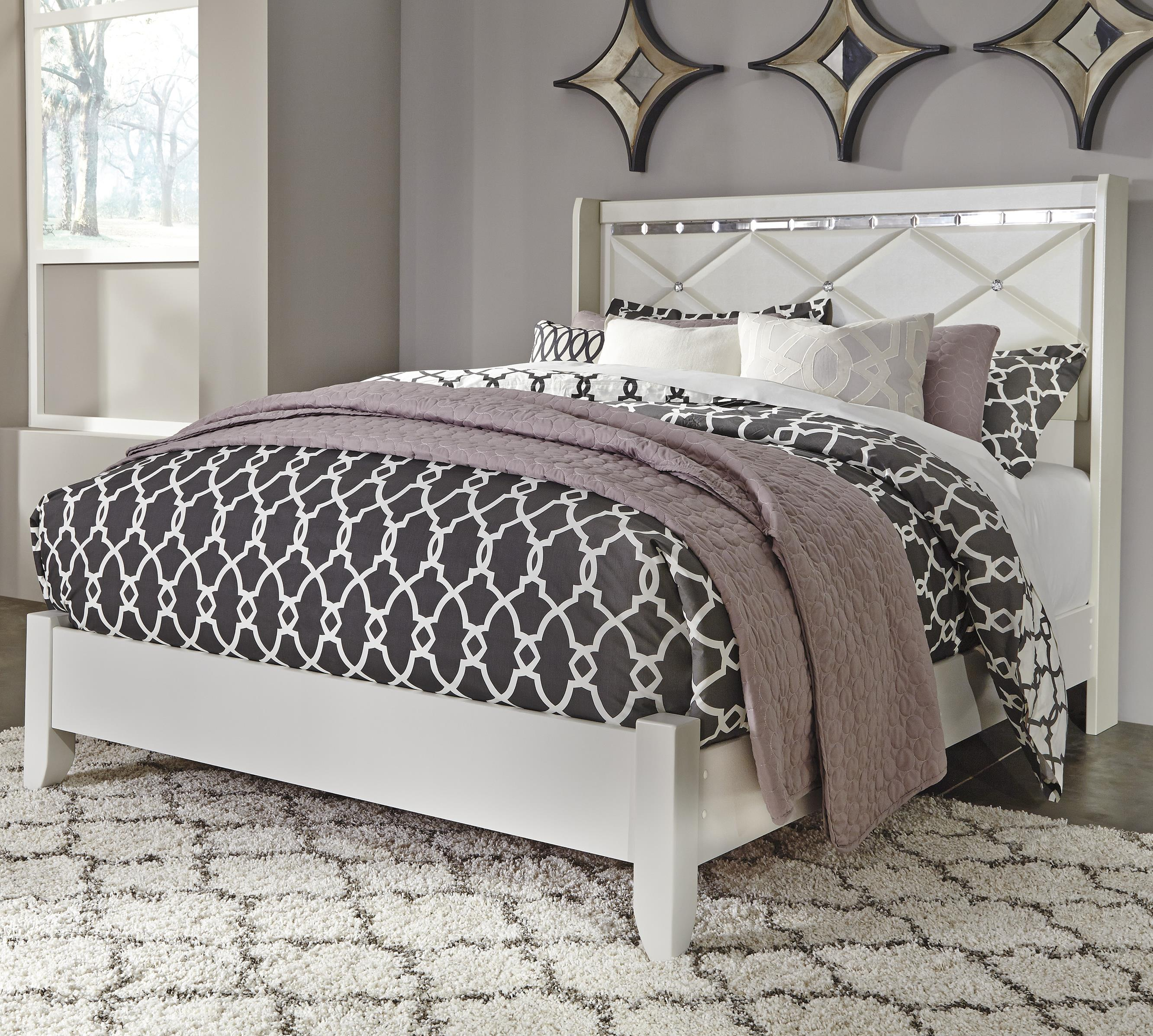 Signature Design By Ashley Dreamur Queen Panel Bed With Faux Crystals Royal Furniture