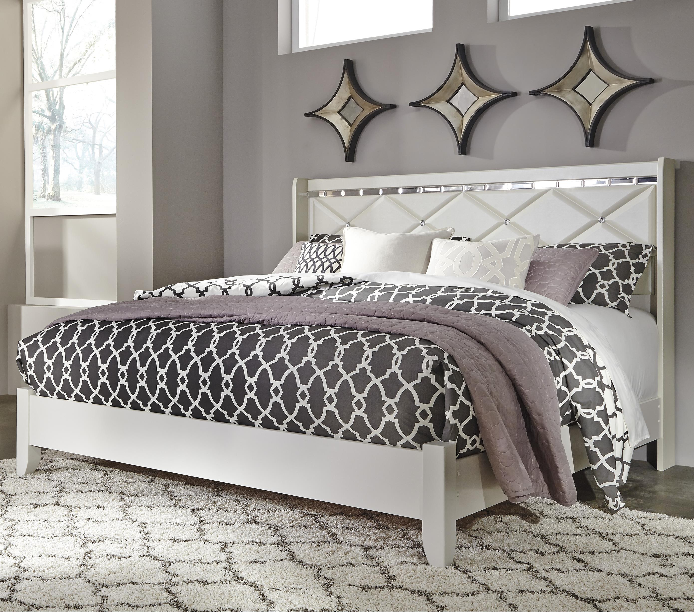 Signature Design By Ashley Dreamur King Panel Bed With Faux Crystals Dream Home Furniture