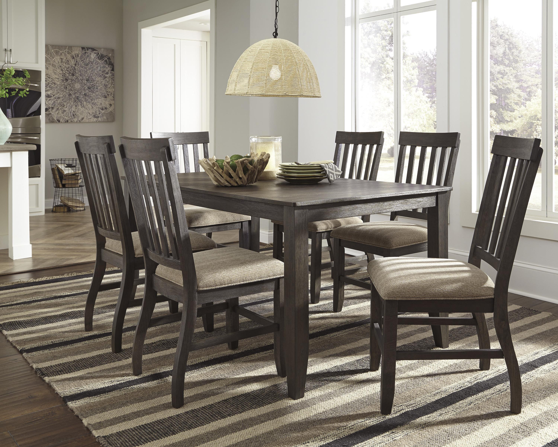 signature design by ashley dresbar 7 piece rectangular dining table set olinde 39 s furniture. Black Bedroom Furniture Sets. Home Design Ideas