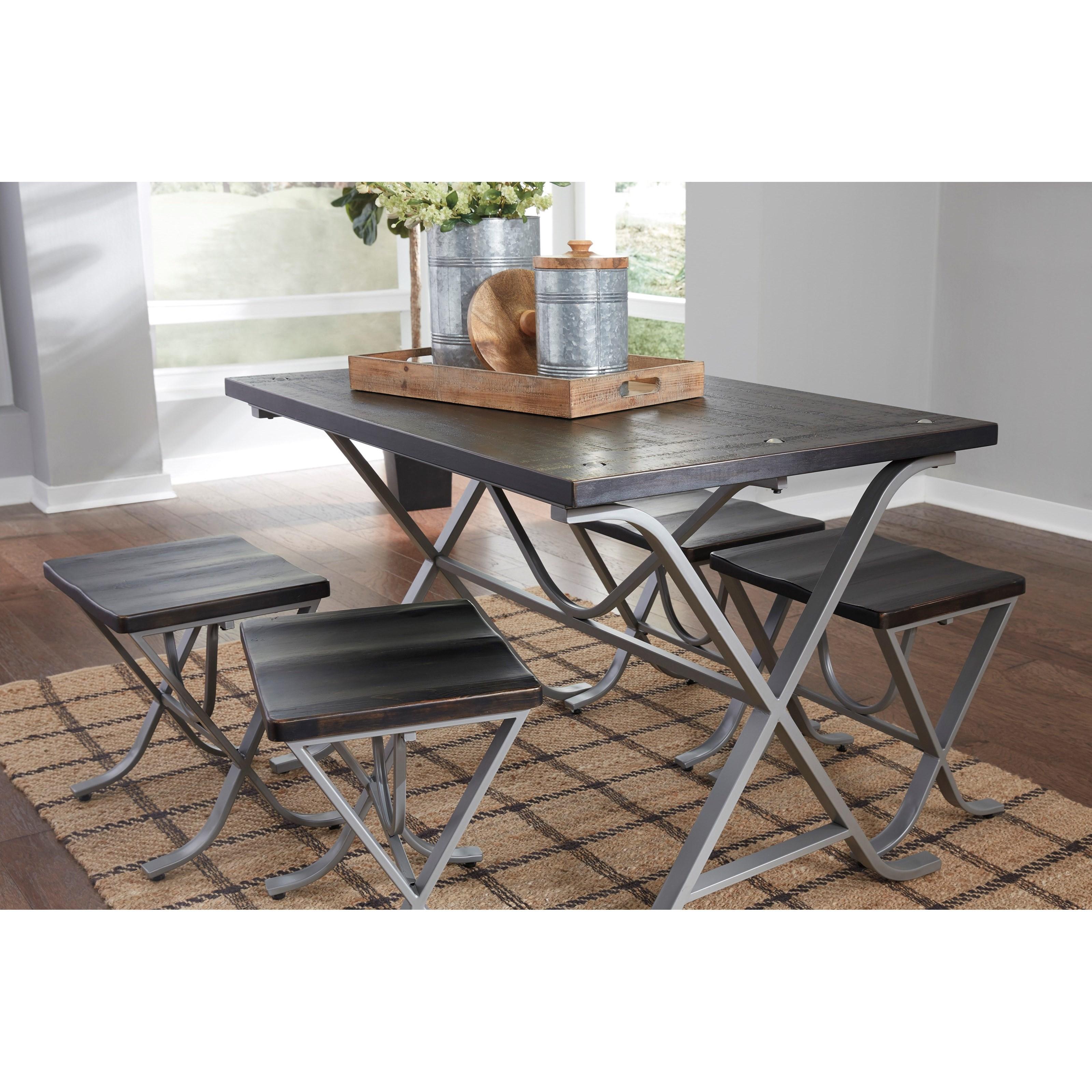 signature design by ashley elistree wood and metal 5 piece rectangular dining room table set. Black Bedroom Furniture Sets. Home Design Ideas