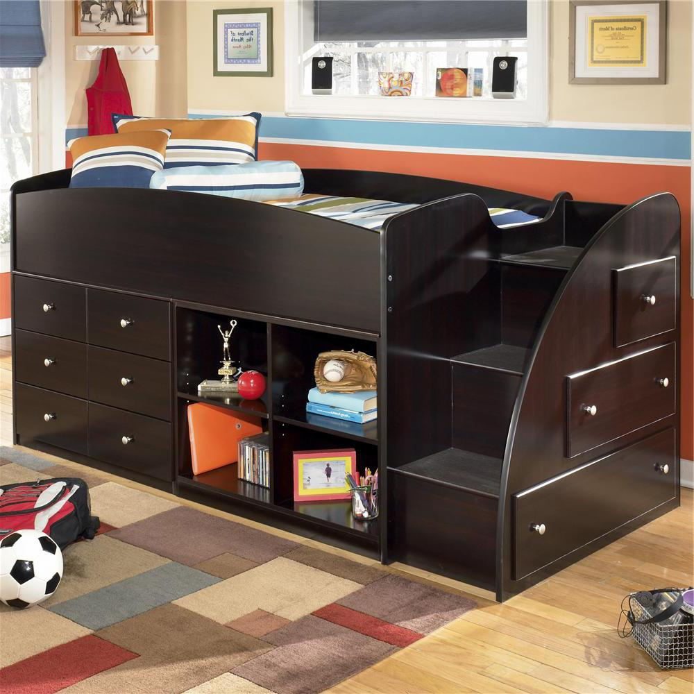 Signature Design By Ashley Embrace Twin Loft Bed With Right Storage Steps Bookcase Chest