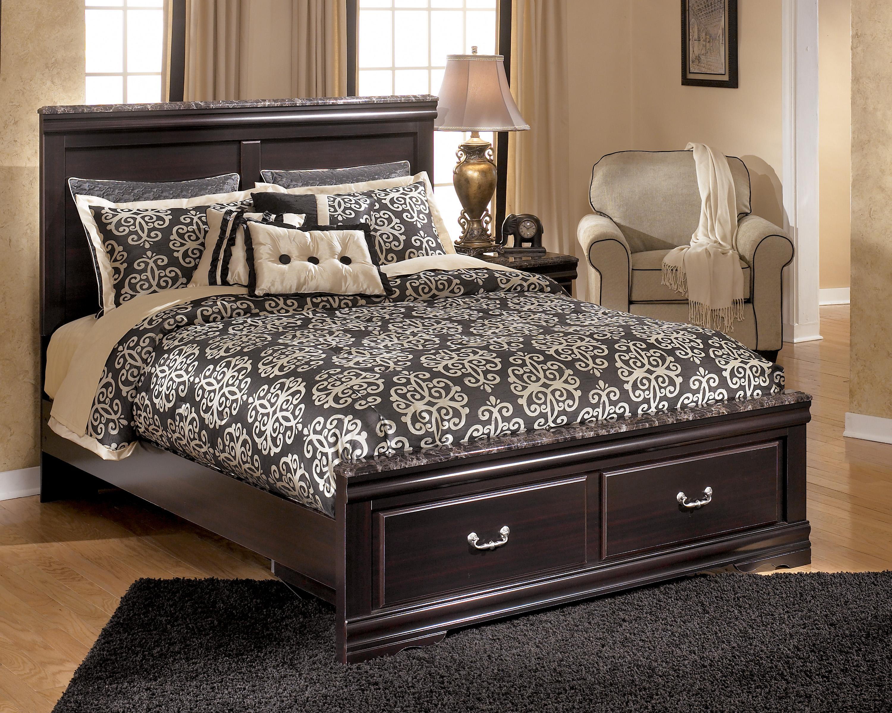 Signature Design By Ashley Esmarelda Queen Storage Bed With 2 Footboard Drawers Faux Marble