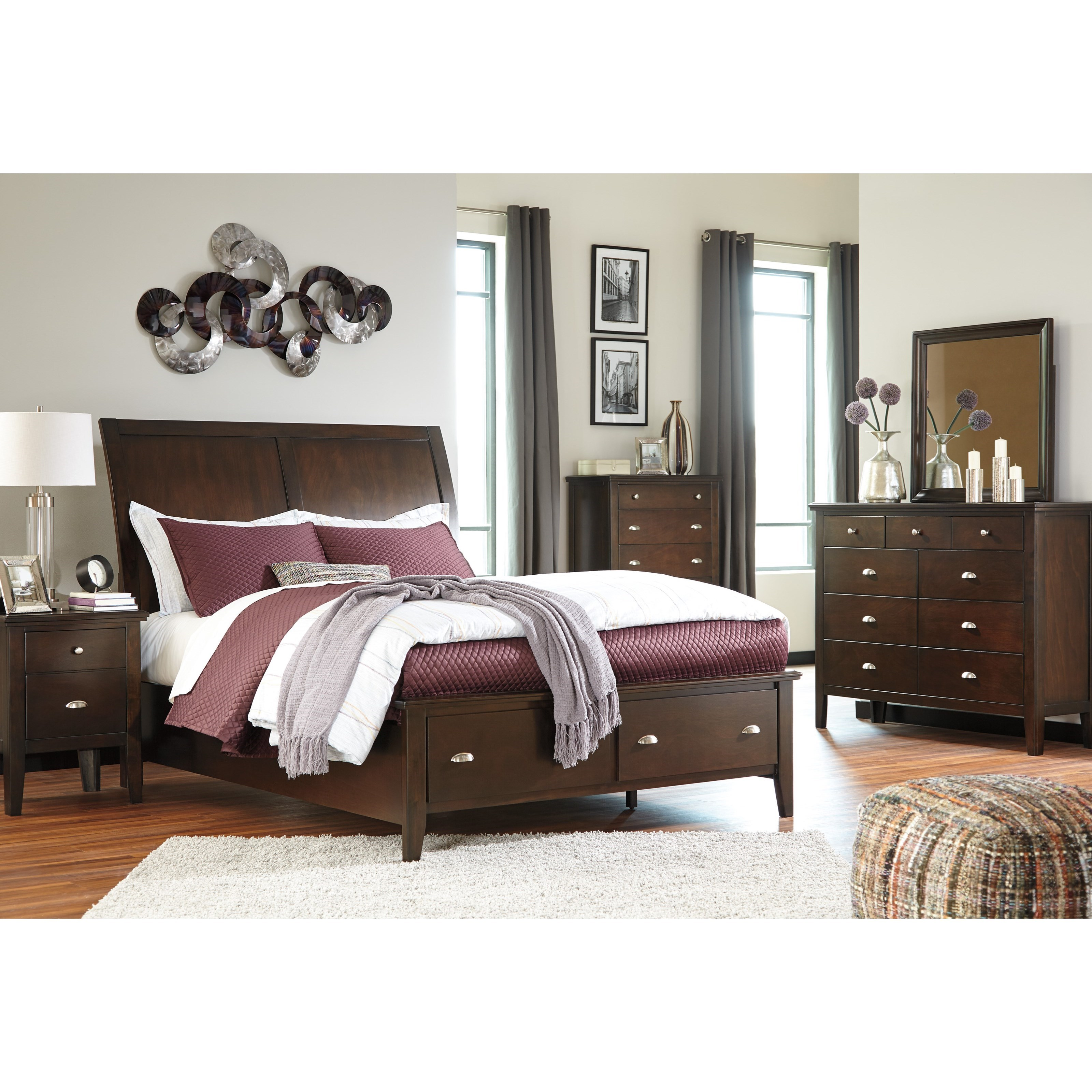 Ashley signature design evanburg king bedroom group dunk for Bedroom furniture groups